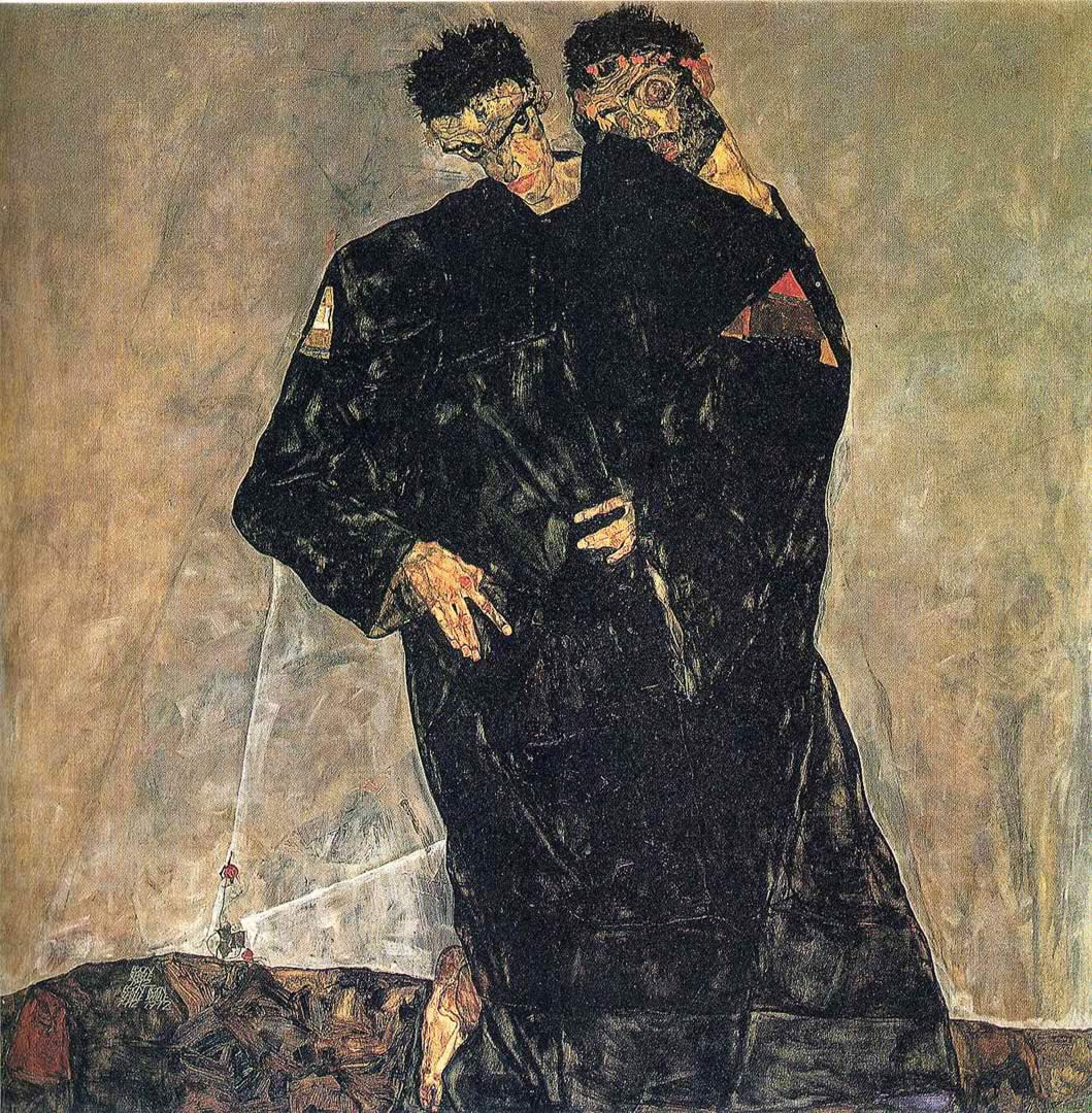 1059x1080 Hermits - Hình nền Egon Schiele