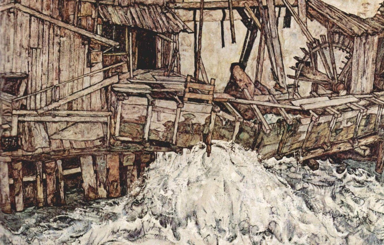 Hình nền 1332x850 Nước, Egon Schiele, Cối xay cũ, Hình ảnh nổ