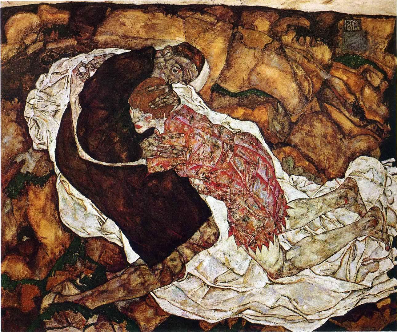 1290x1080 Death And The Maiden - Hình nền Egon Schiele