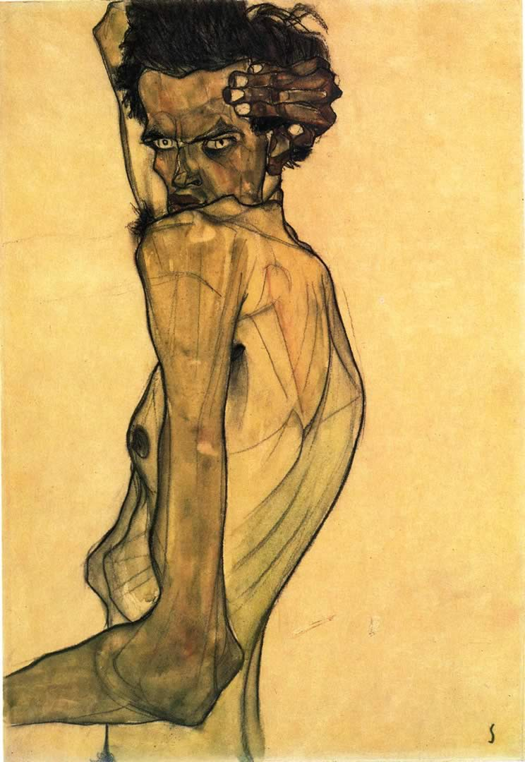 744x1080 Self Portrait - Hình nền Egon Schiele