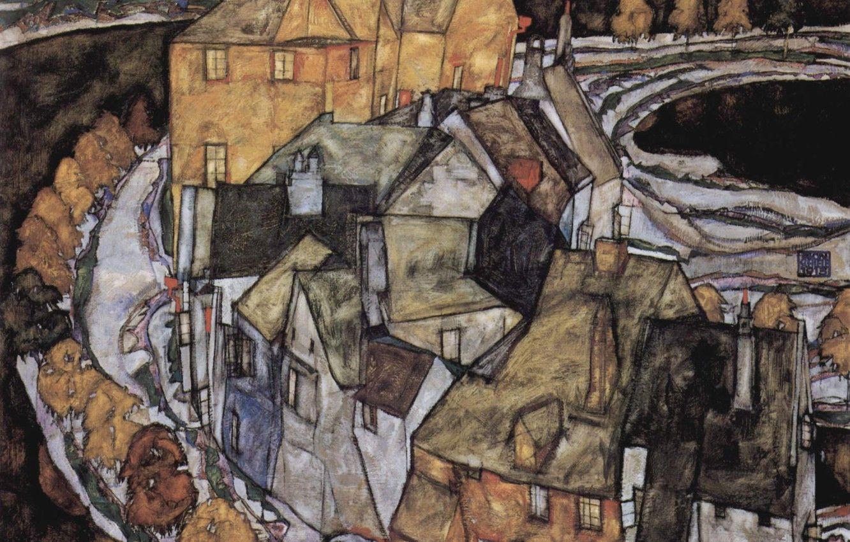 Hình nền 1332x850 Home, Egon Schiele, hoặc Đảo thành phố, Vòng cung đứng