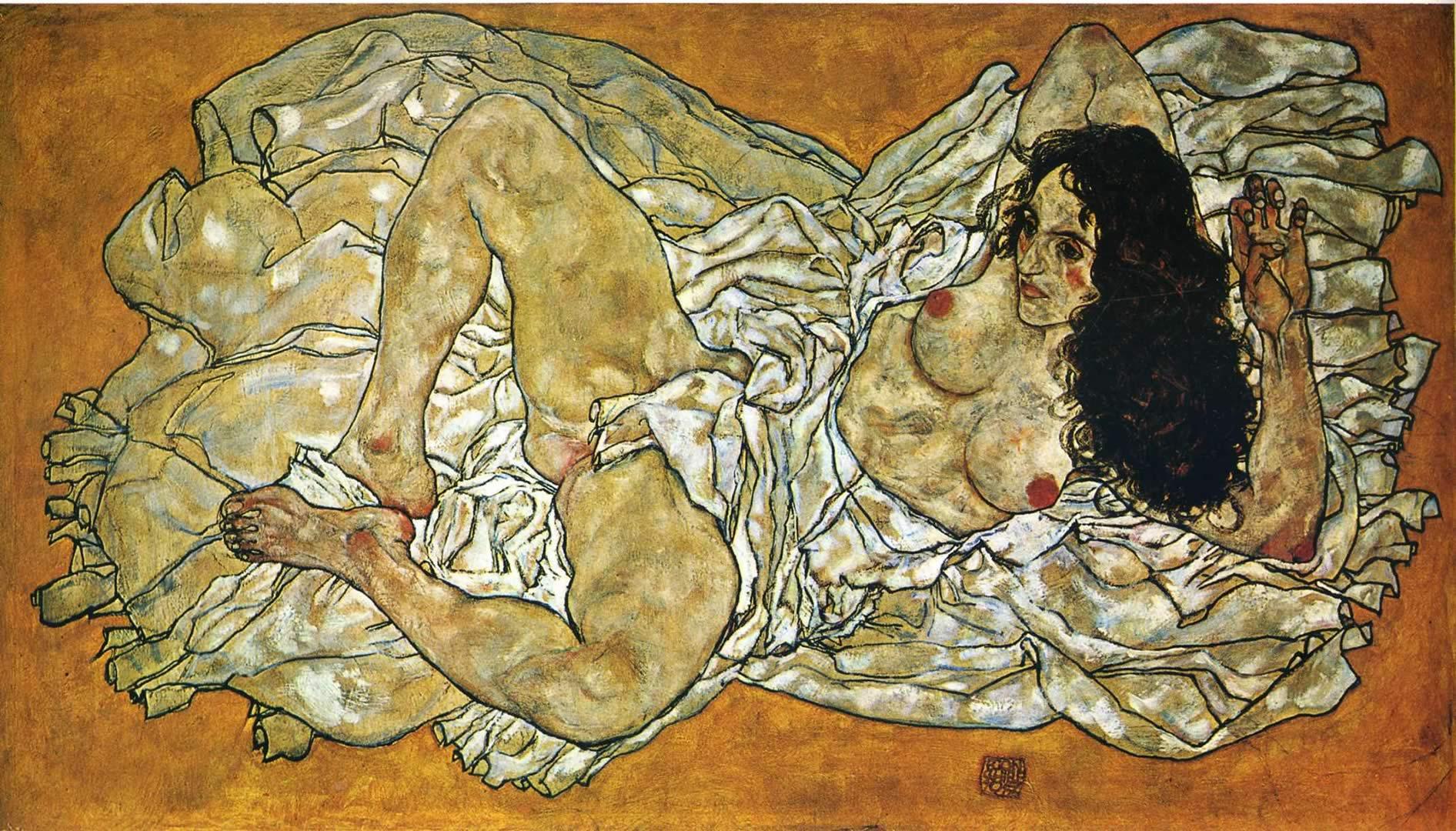 1892x1080 Người phụ nữ nằm nghiêng - Hình nền Egon Schiele