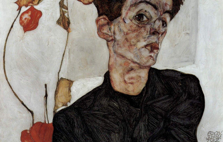 Hình nền 1332x850 Chân dung tự họa, Egon Schiele, với đèn hoa đăng