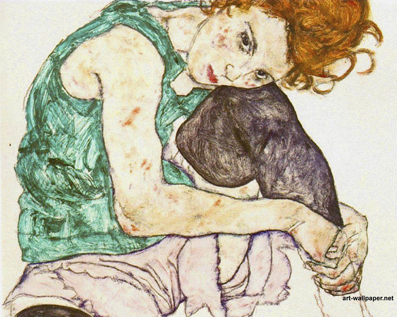 1280x1024 Bức tranh Egon Schiele, Tranh nghệ thuật Hình nền