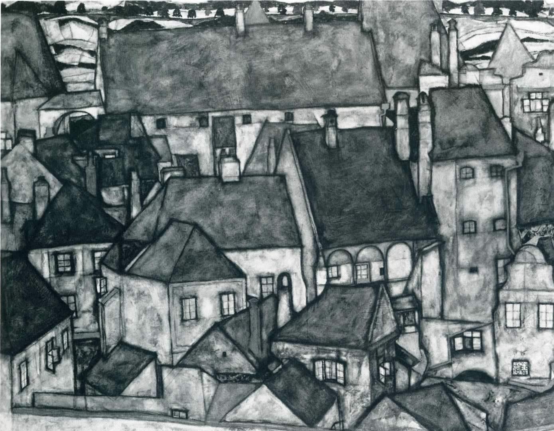 1389x1080 Yellow City - Hình nền Egon Schiele