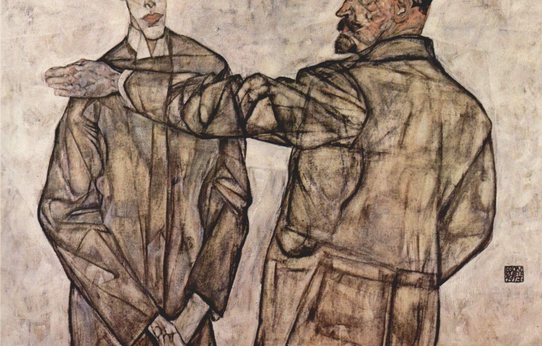 Hình nền 1332x850 Egon Schiele, Binche Heinrich và con trai Otto