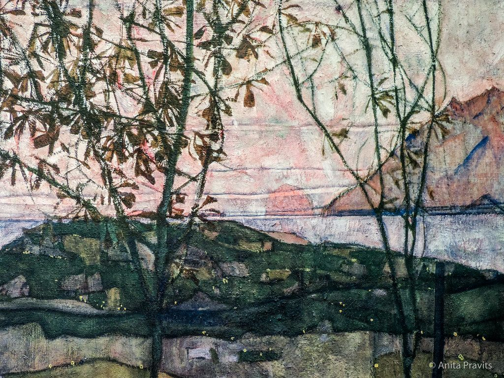 1024x768 Egon Schiele: Versinkende Sonne / mặt trời lặn, 1913