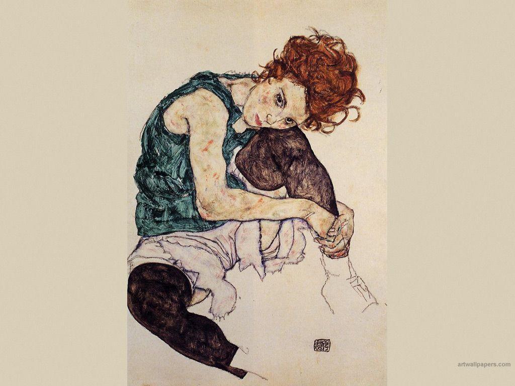 1024x768 egon shcilele.  Tranh Egon Schiele, Bản in, Nghệ thuật