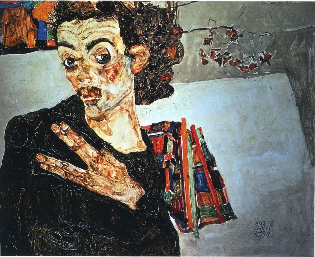 1322x1080 Portrait Black Vase - Egon Schiele hình nền