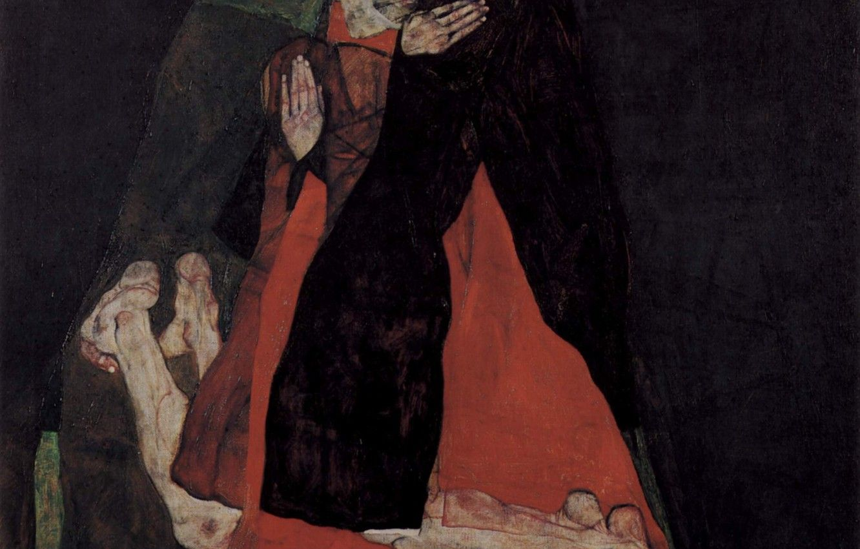 Hình nền 1332x850 Egon Schiele, Tình yêu hoặc tình cảm, Hồng y và nữ tu