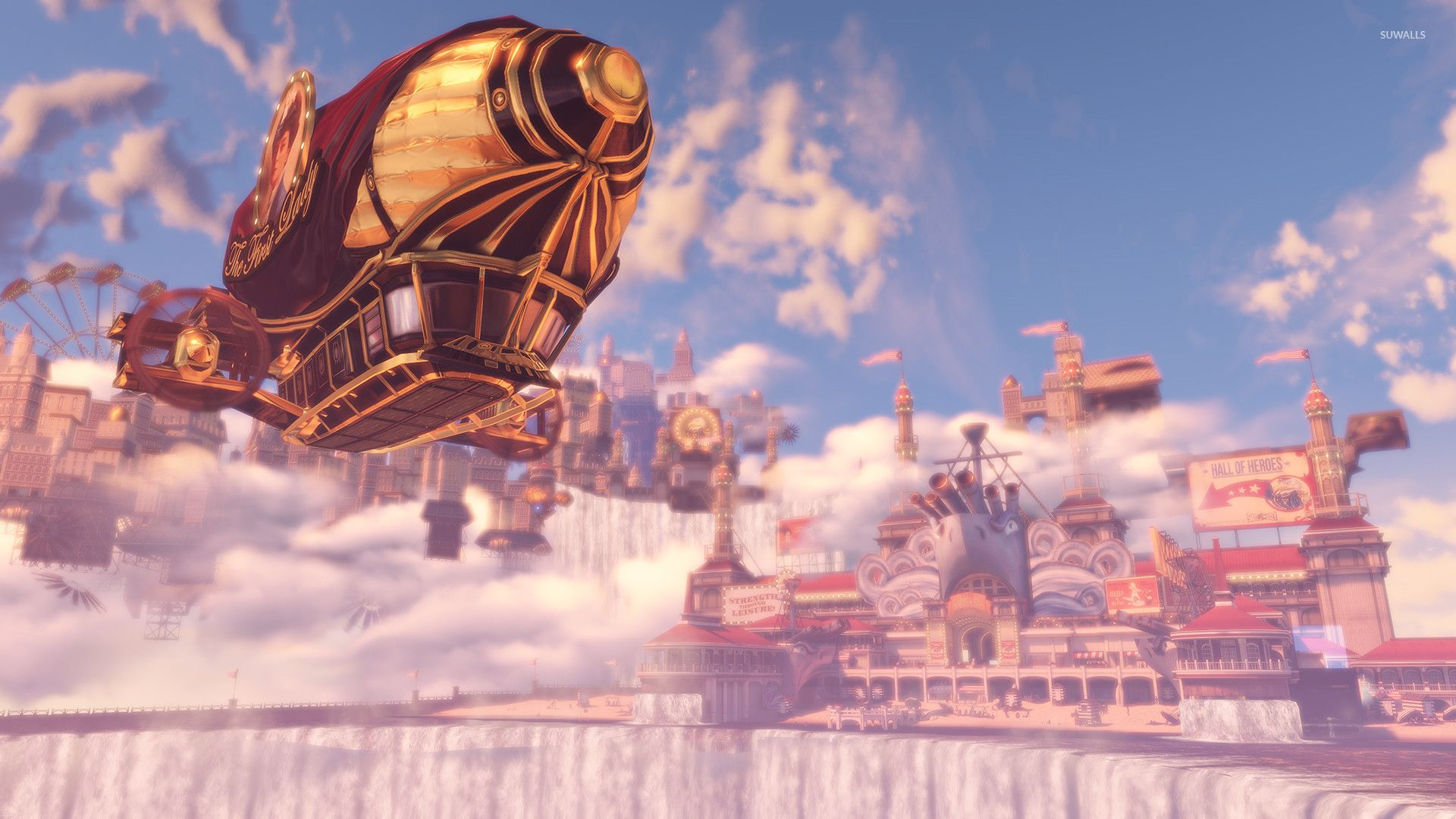 1920x1080 City On The Waterfalls Edge In BioShock Infinite Wallpaper