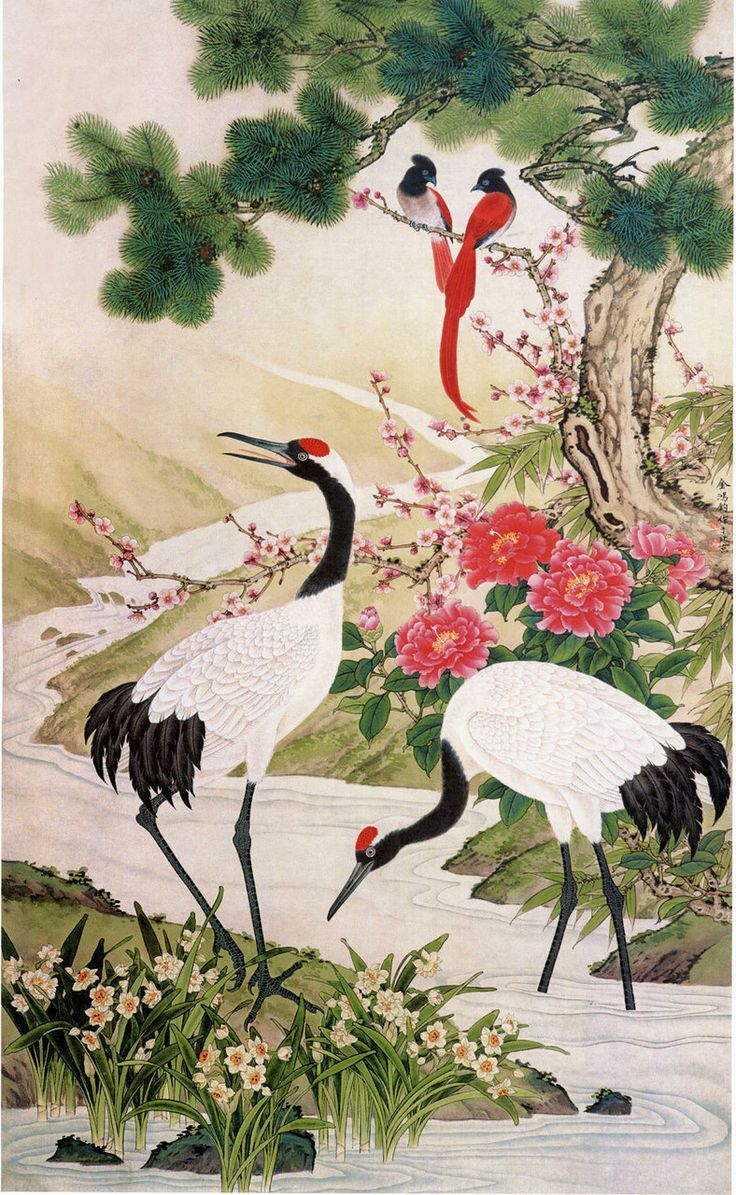 Japanese Crane Painting of Birds Wallpapers - Top Free ... - photo#34