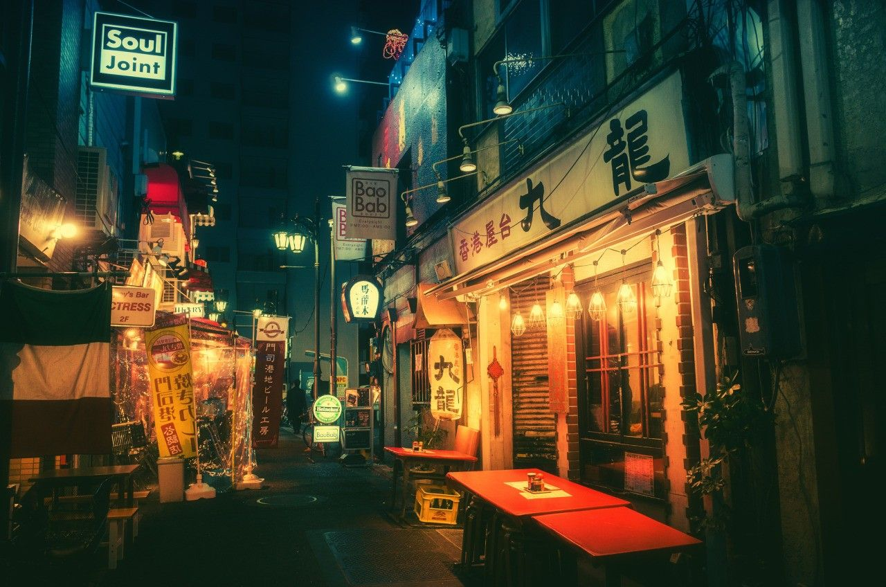 Japan Street Night Wallpapers Top Free Japan Street Night Backgrounds Wallpaperaccess