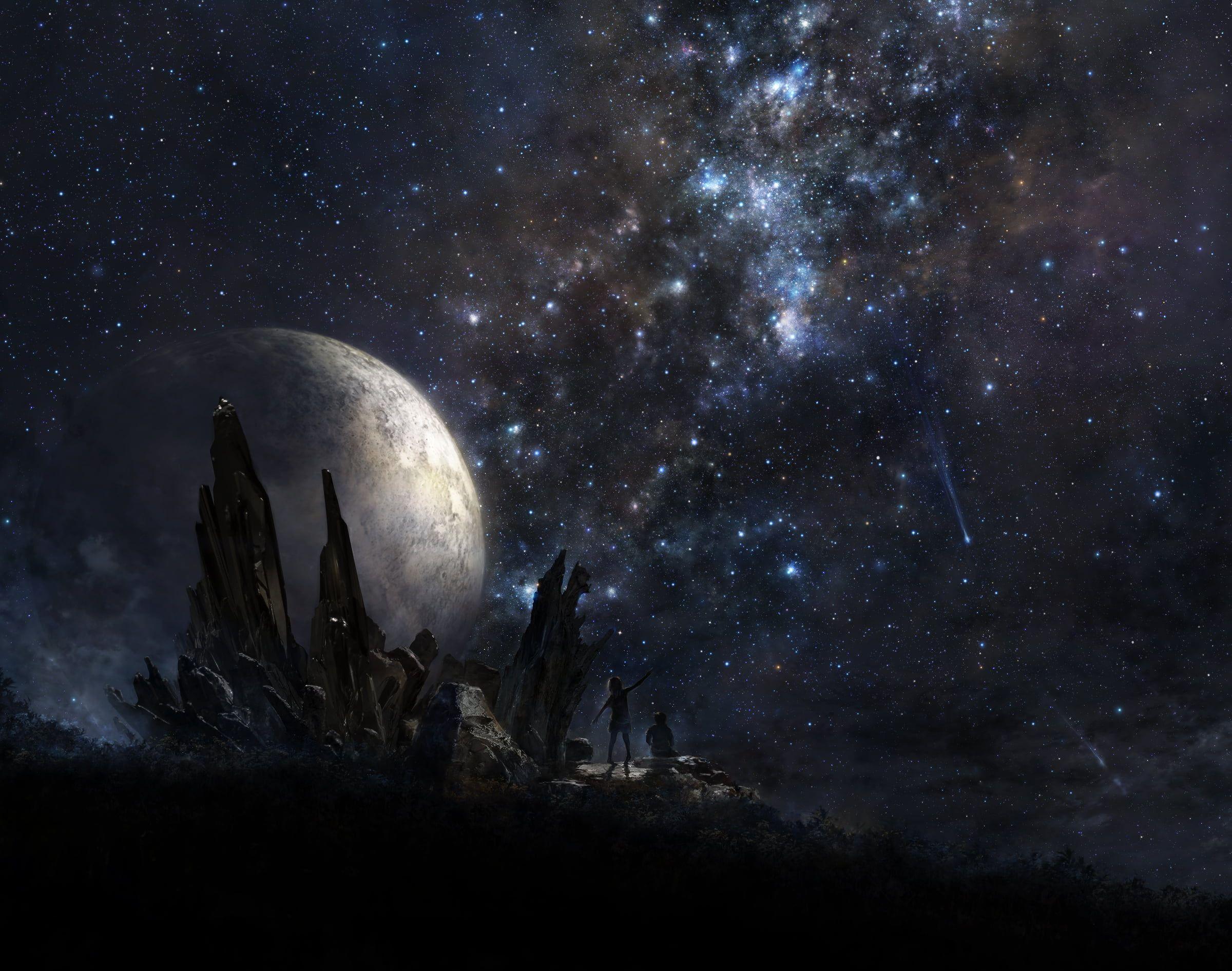Hình nền HD 2400x1892 Galaxy and moon print