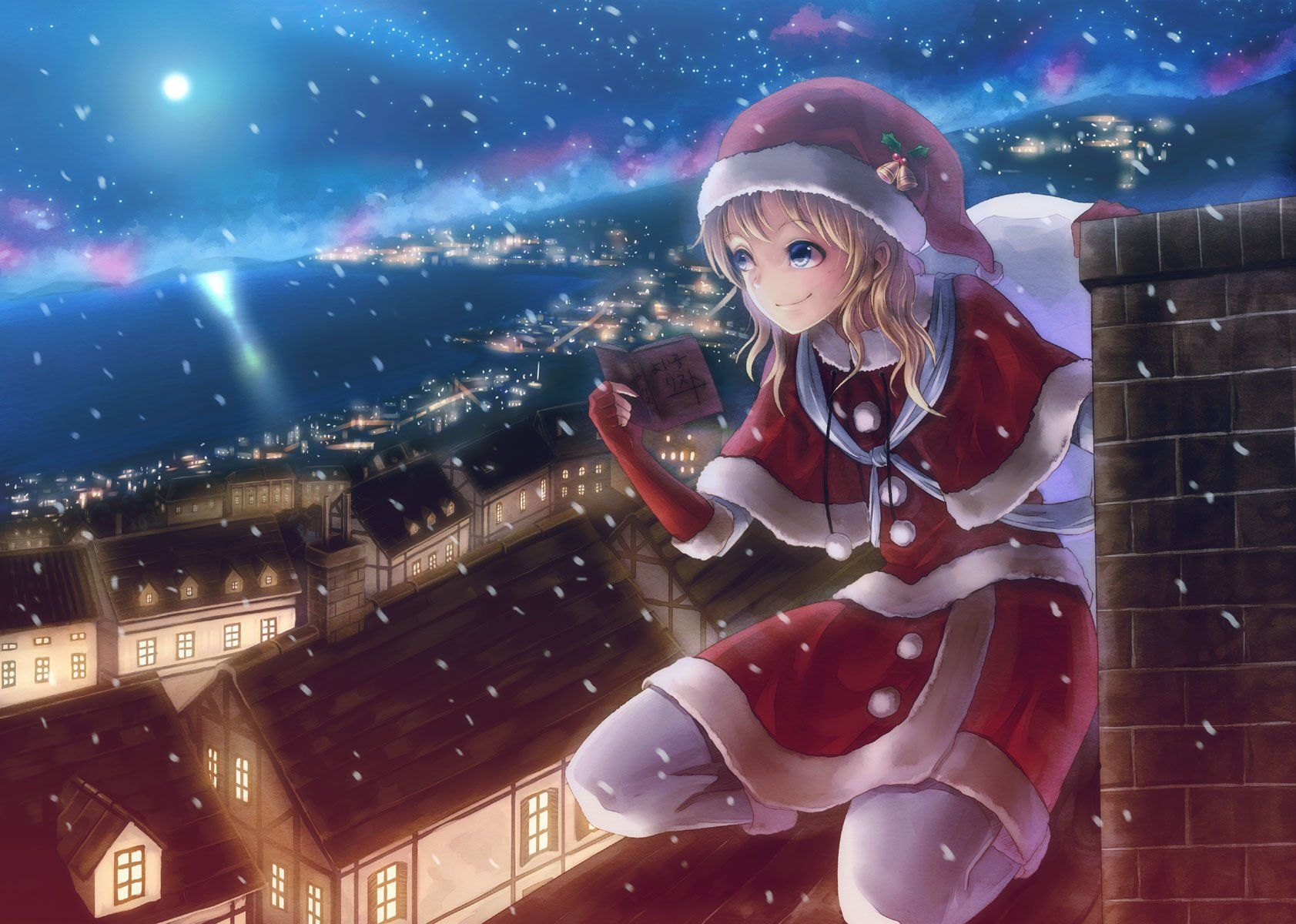 Anime Girls Christmas Wallpaper HD 4k