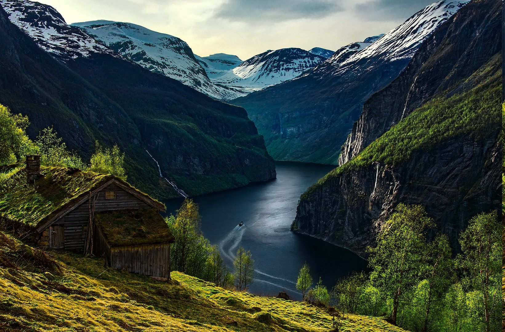 Norway Mountain Lake Fjord Nature landscape HD POSTER