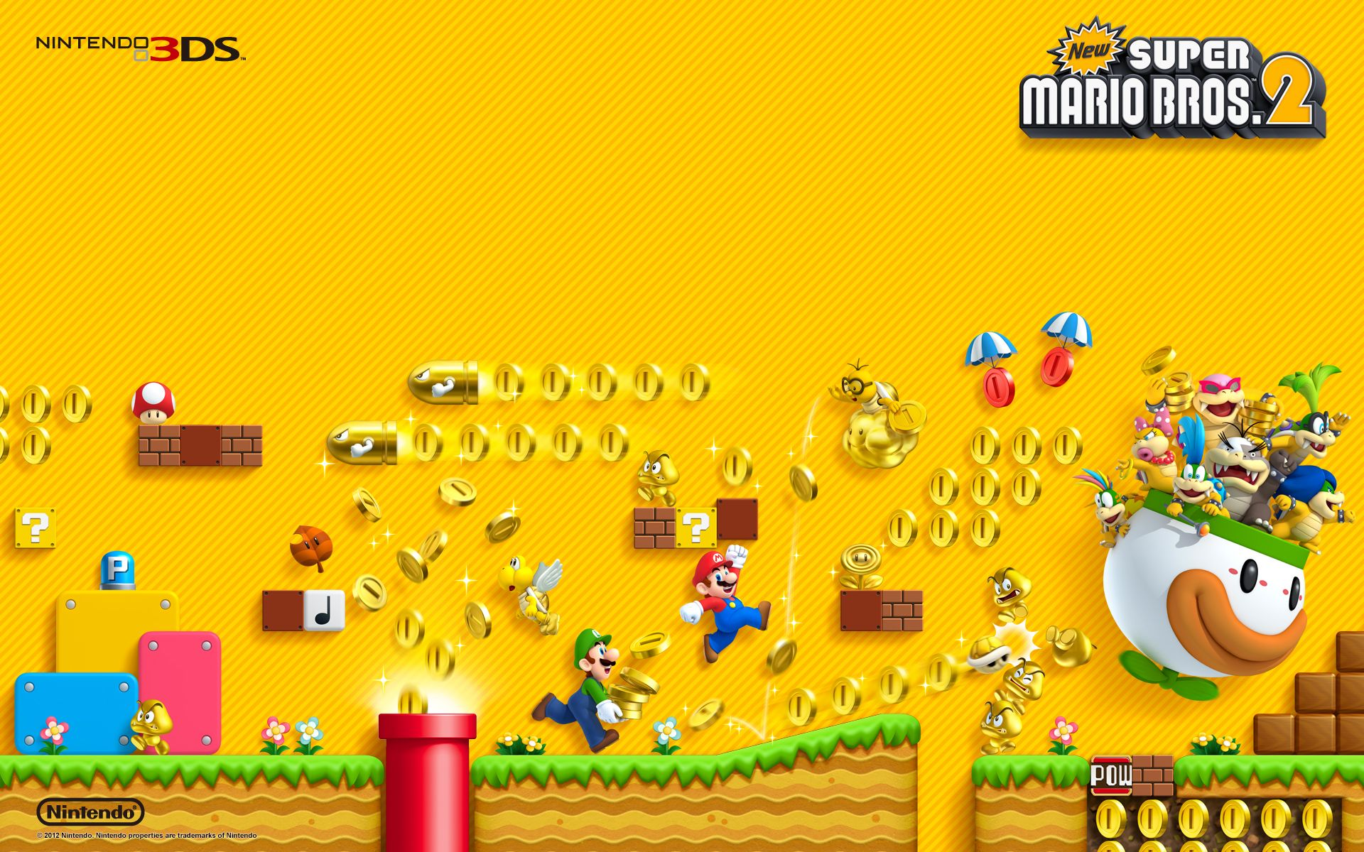 1024x1024 New Super Mario Bros Wii Ipad Wallpaper