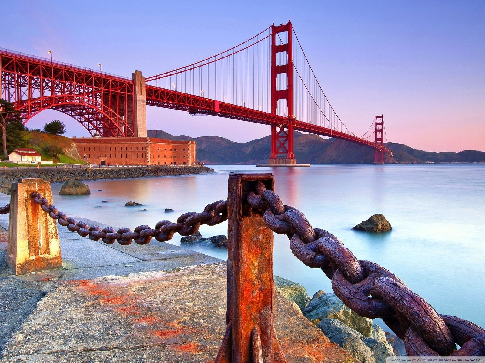 wallpaper bridge night fog backlight bay golden gate bridge