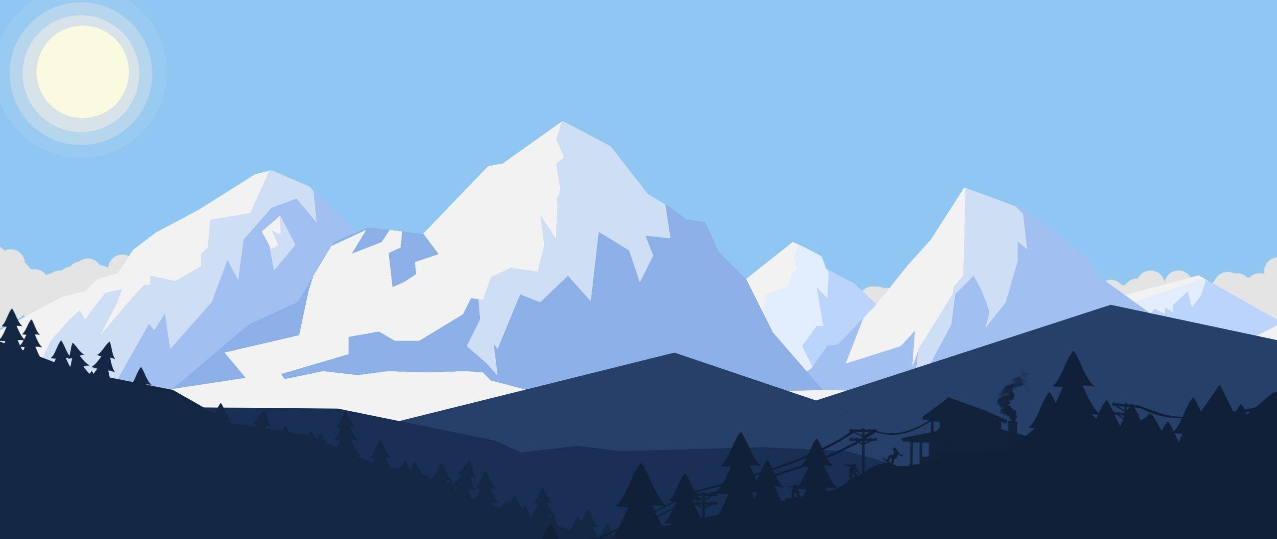 2560x1080 Tải xuống Phong cảnh tuyết mùa đông Tối giản 8k Rộng kép