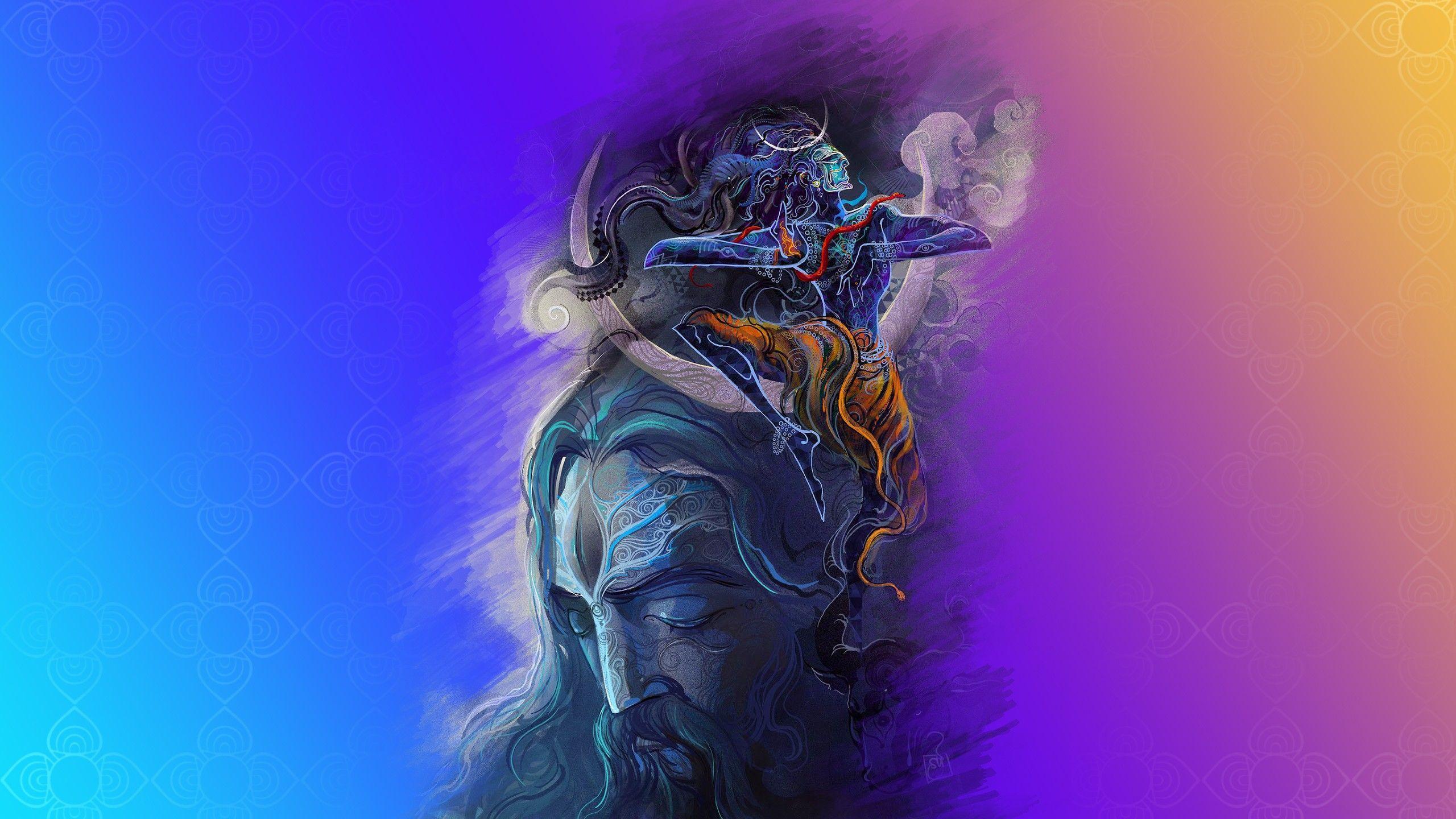 Đồ họa sáng tạo 2560x1440 / Hình nền Chúa Shiva - Chúa tể hình nền HD