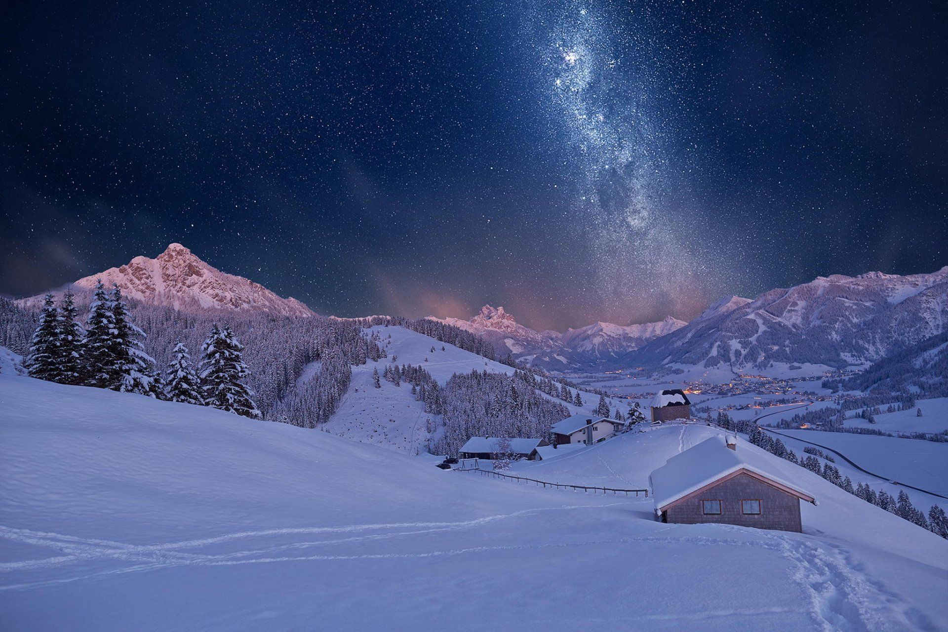 Snow Night Wallpapers Top Free Snow Night Backgrounds Wallpaperaccess