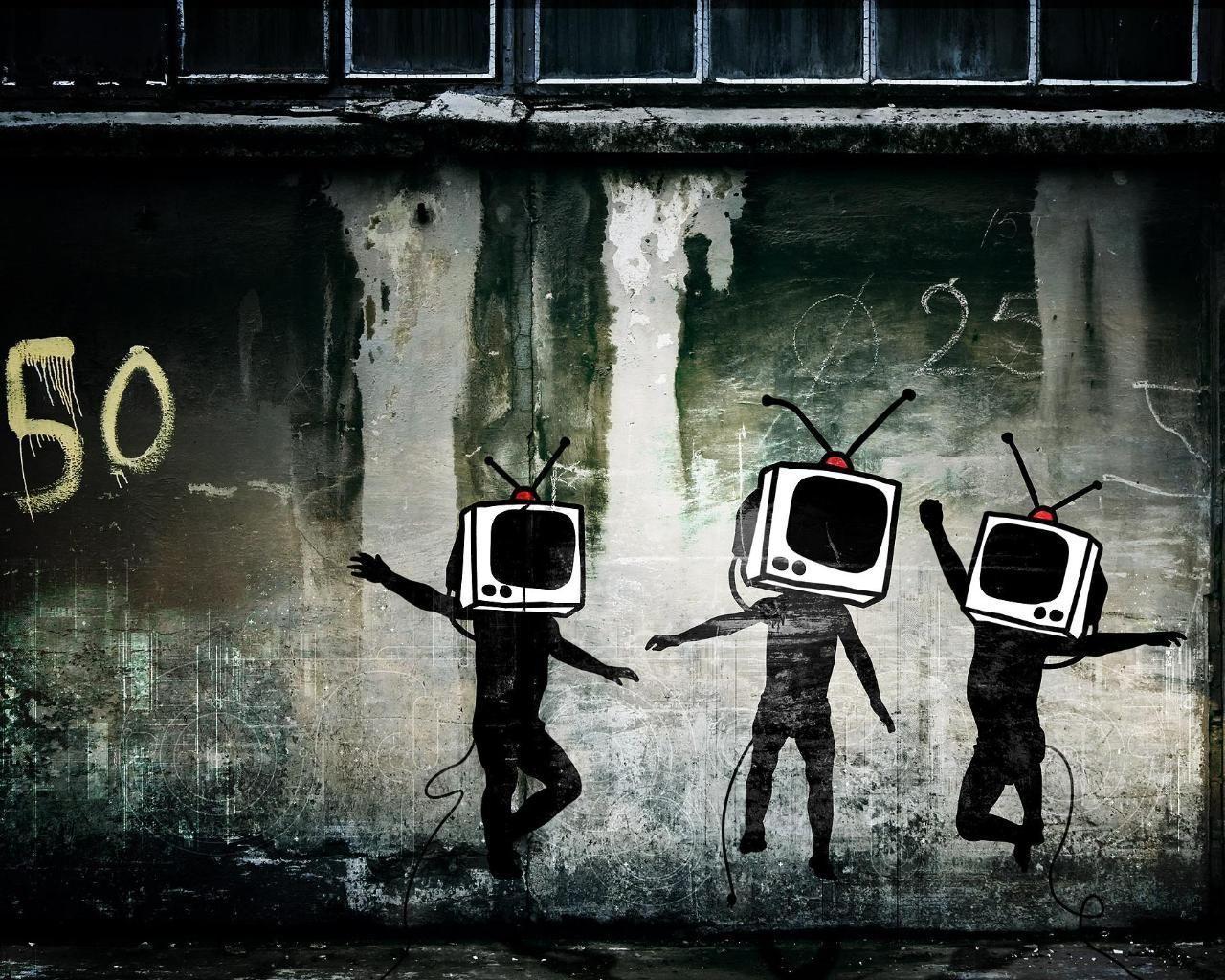 1280x1024 Hình nền nghệ thuật đường phố đô thị Tv Man Urban Graffiti hình nền.  Đô thị