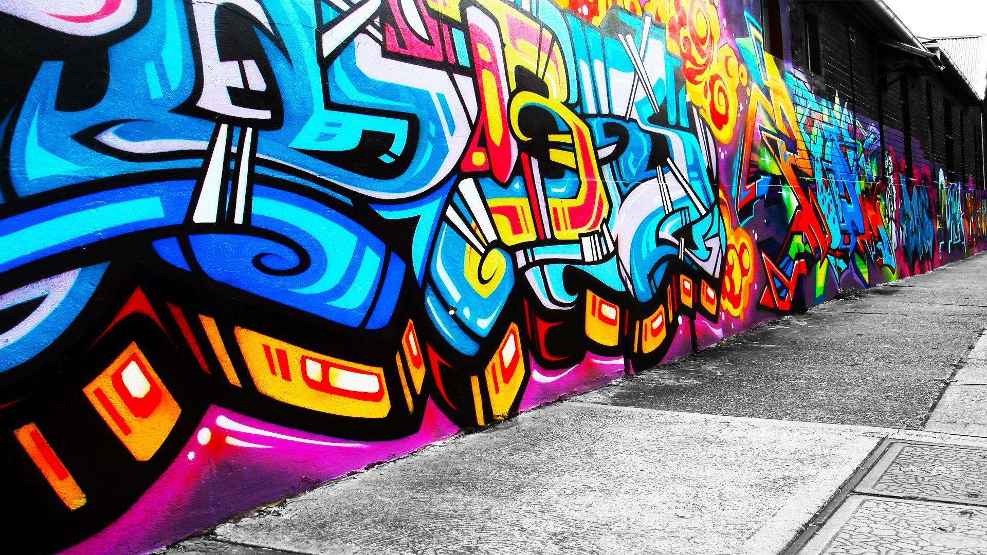 1920x1080 Gangster Graffiti Hình nền Điêu khắc Sơn màu.  Nghệ thuật đô thị