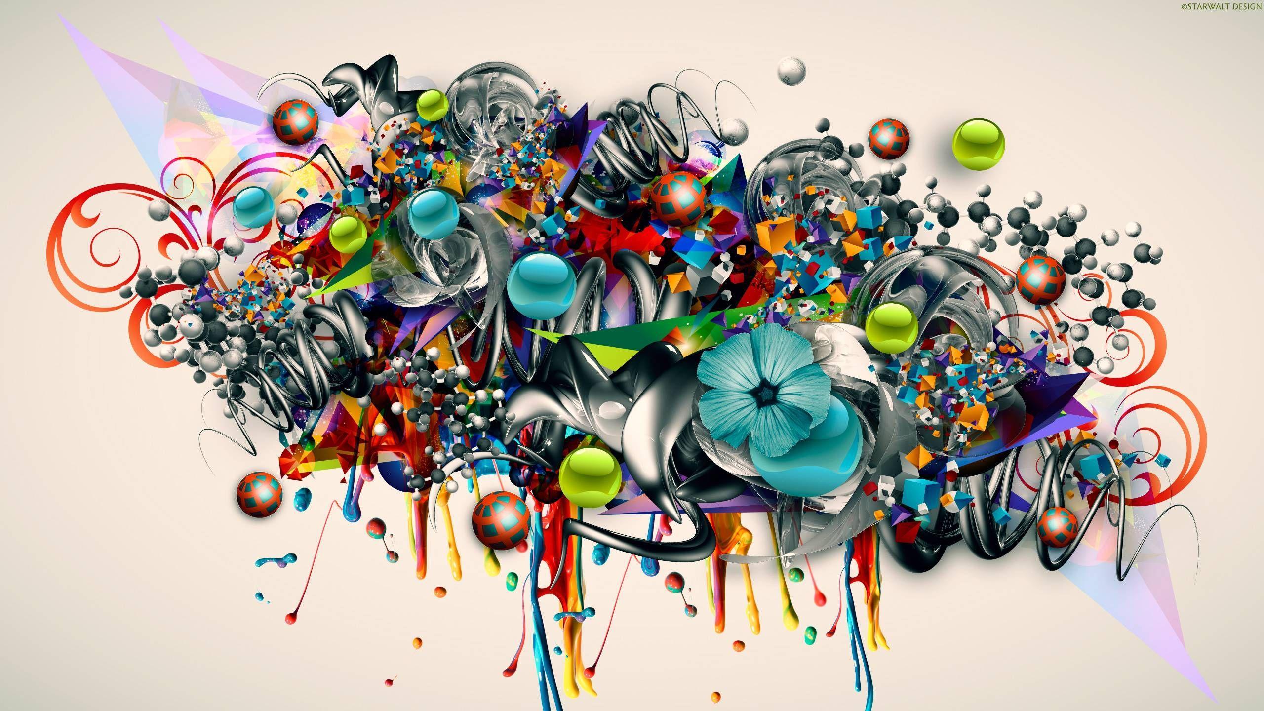 2560x1440 Hình nền Graffiti đầy màu sắc Hình nền Graffiti Nghệ thuật 3D Màu ảo giác