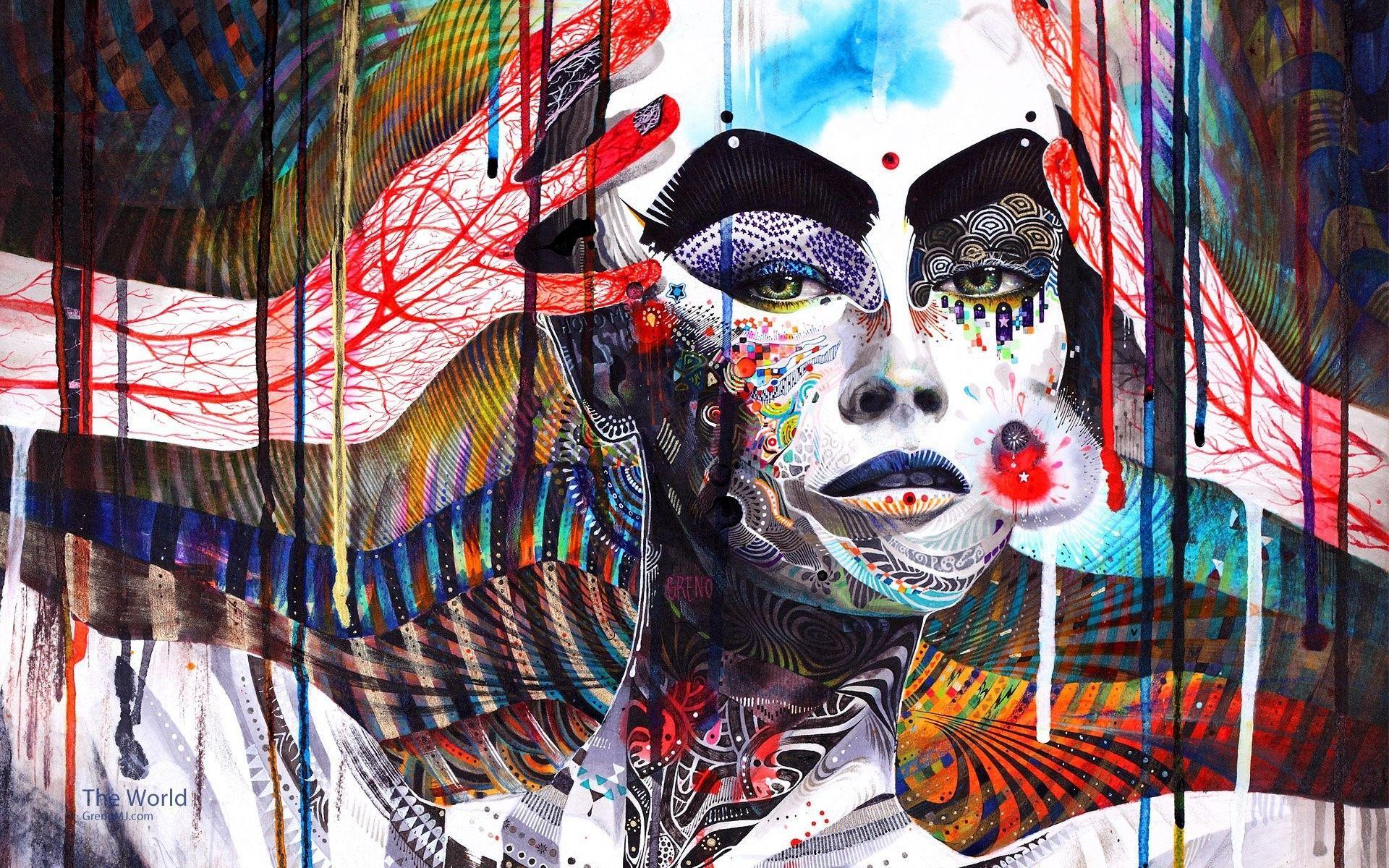 1920x1200 Màu nghệ thuật ảo giác phụ nữ máu mặt hình nền thành thị.  1920x1200
