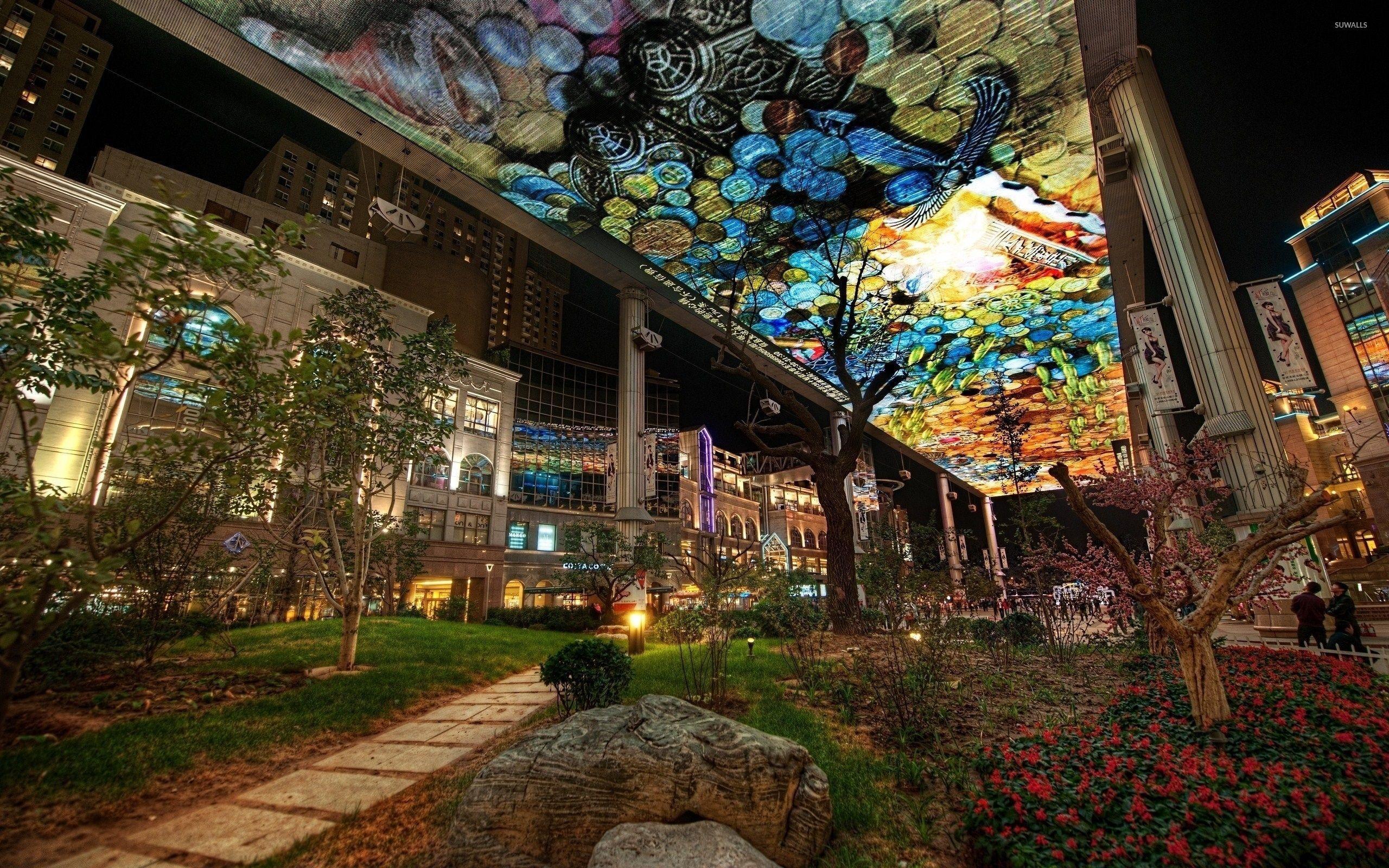 Hình nền nghệ thuật đô thị trong vườn thành phố 2560x1600 - Hình nền thế giới