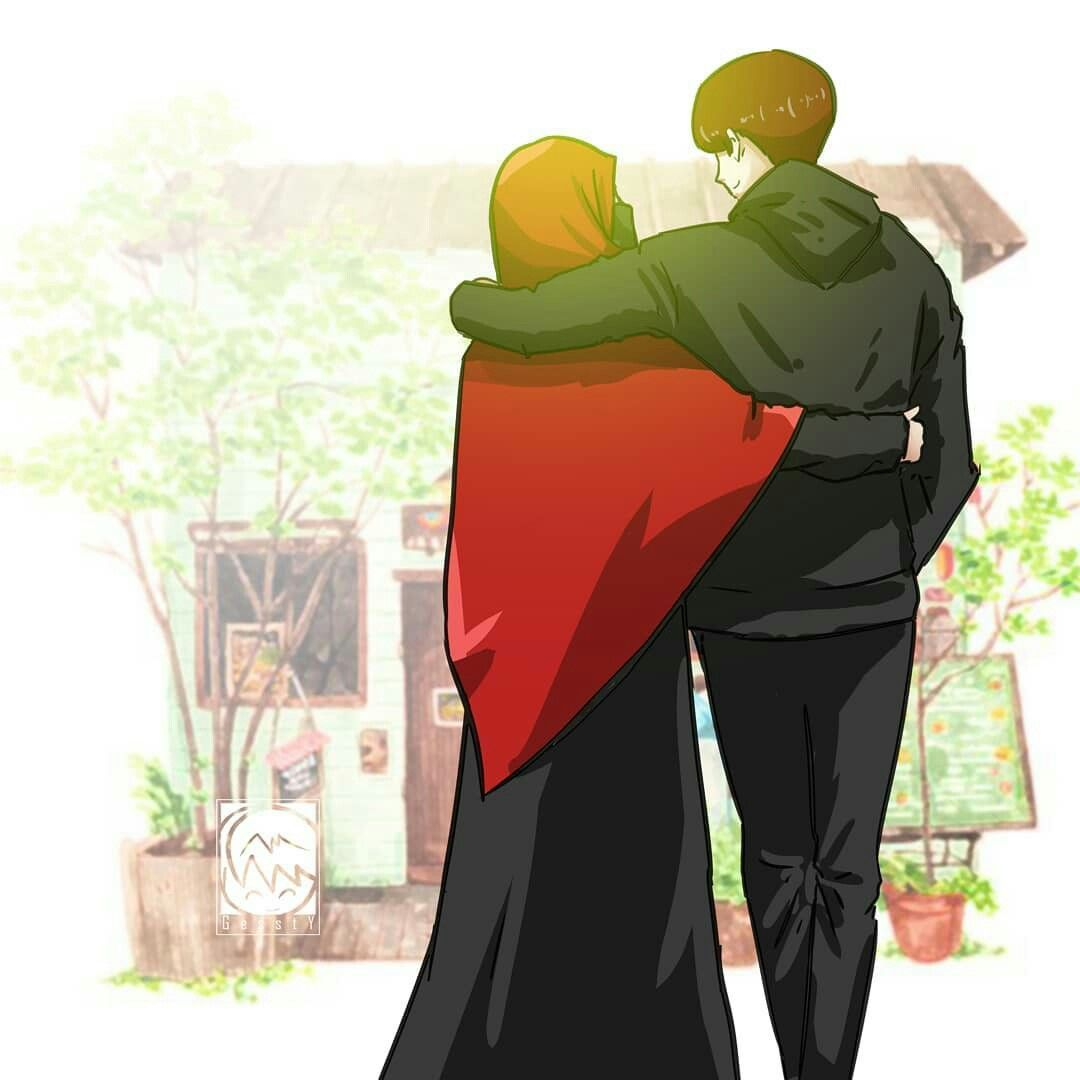 Gambar Kartun Muslimah Couple Terpisah - Gambar Kartun