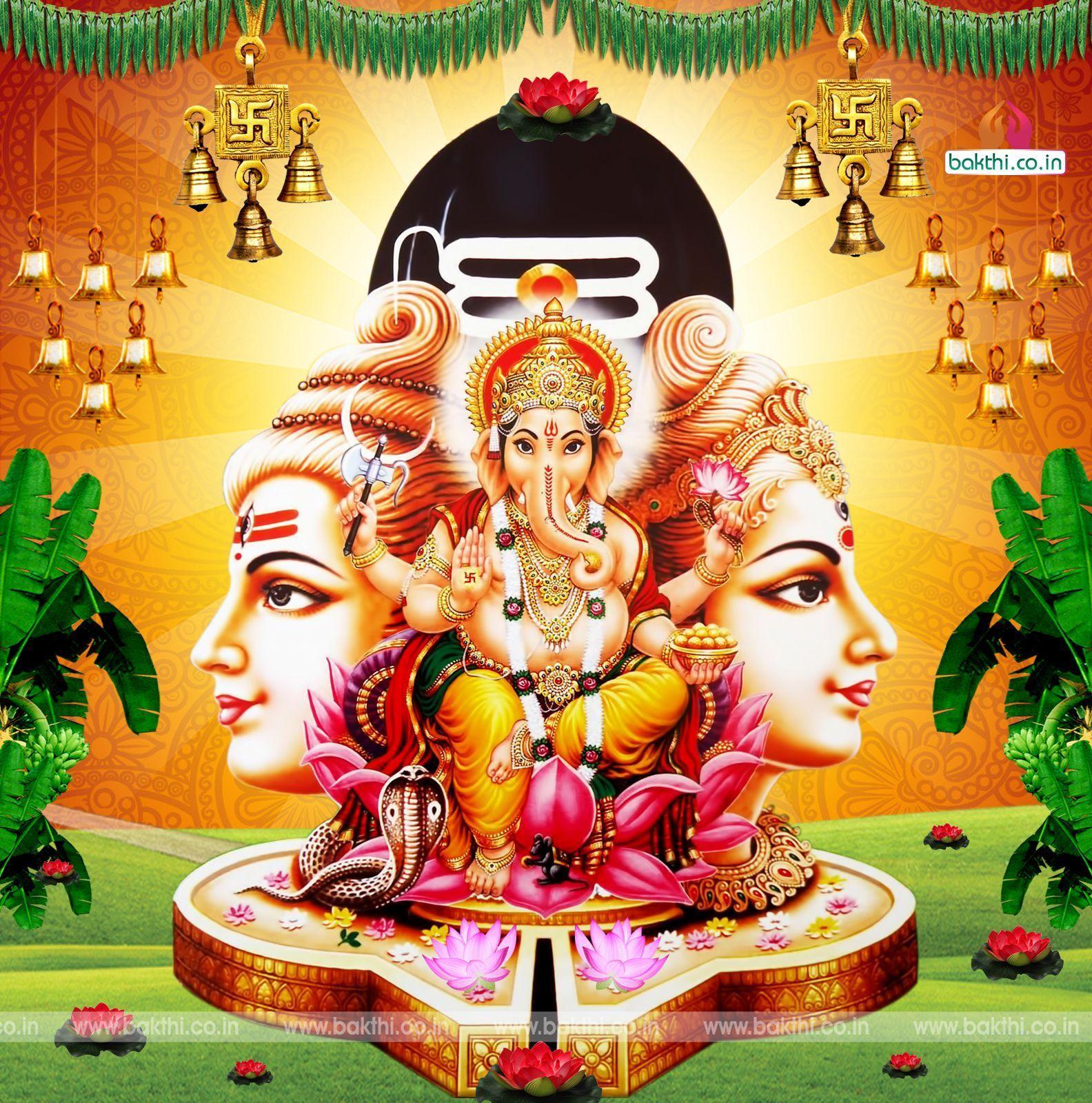 Hình nền HD 1584x1600 hindu god vinayaka siva parvathi tải xuống miễn phí