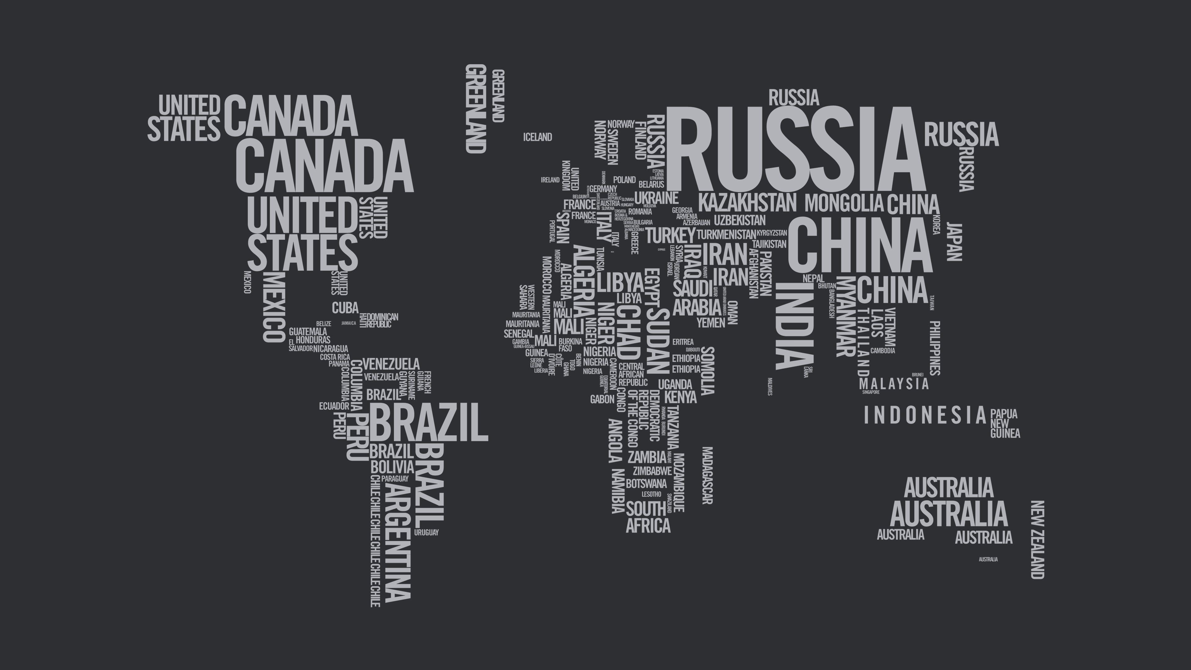 Hình nền 3840x2160 World Map Typography 4K