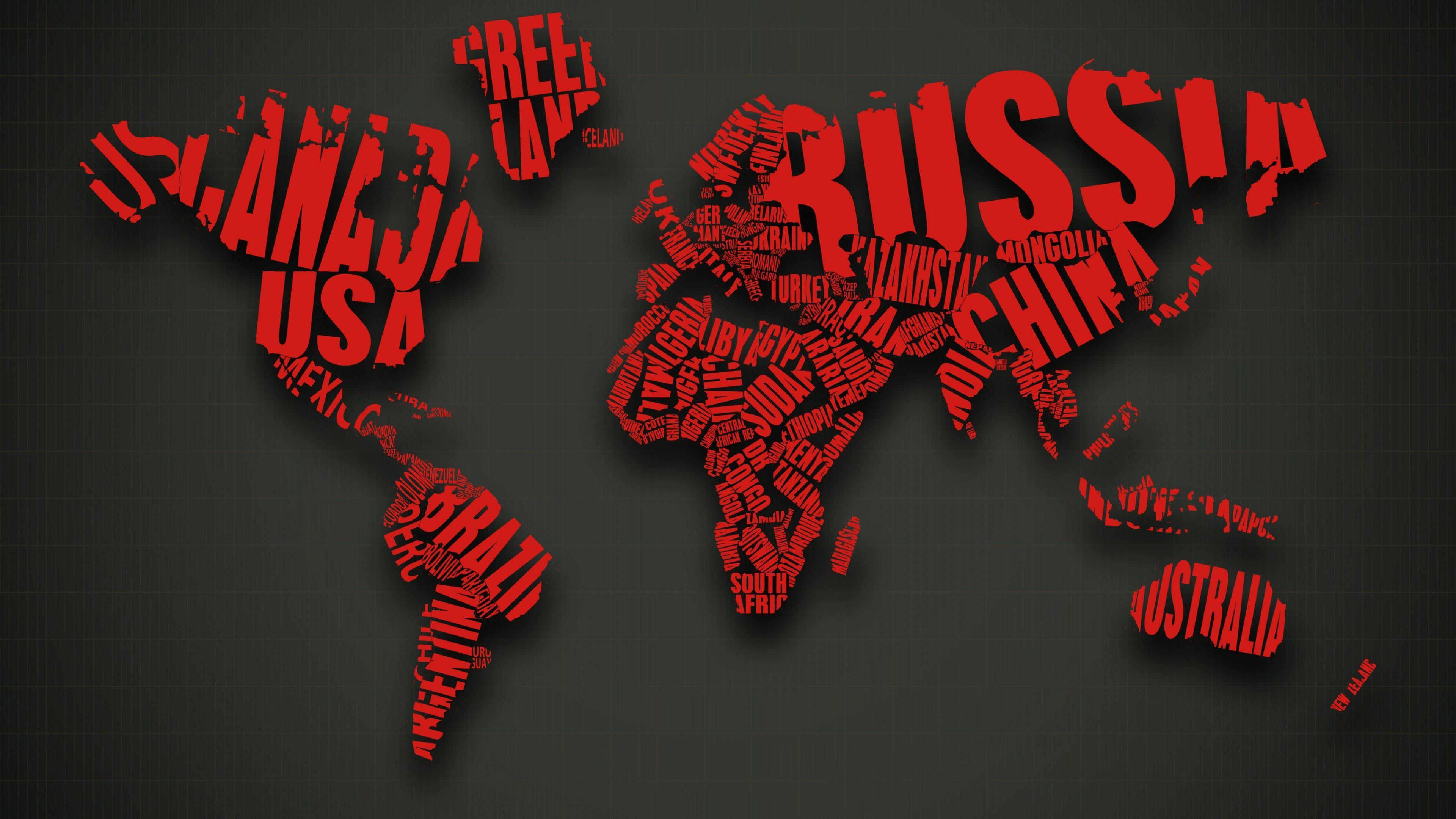 3840x2160 Red World Map Typography Hình nền 4K