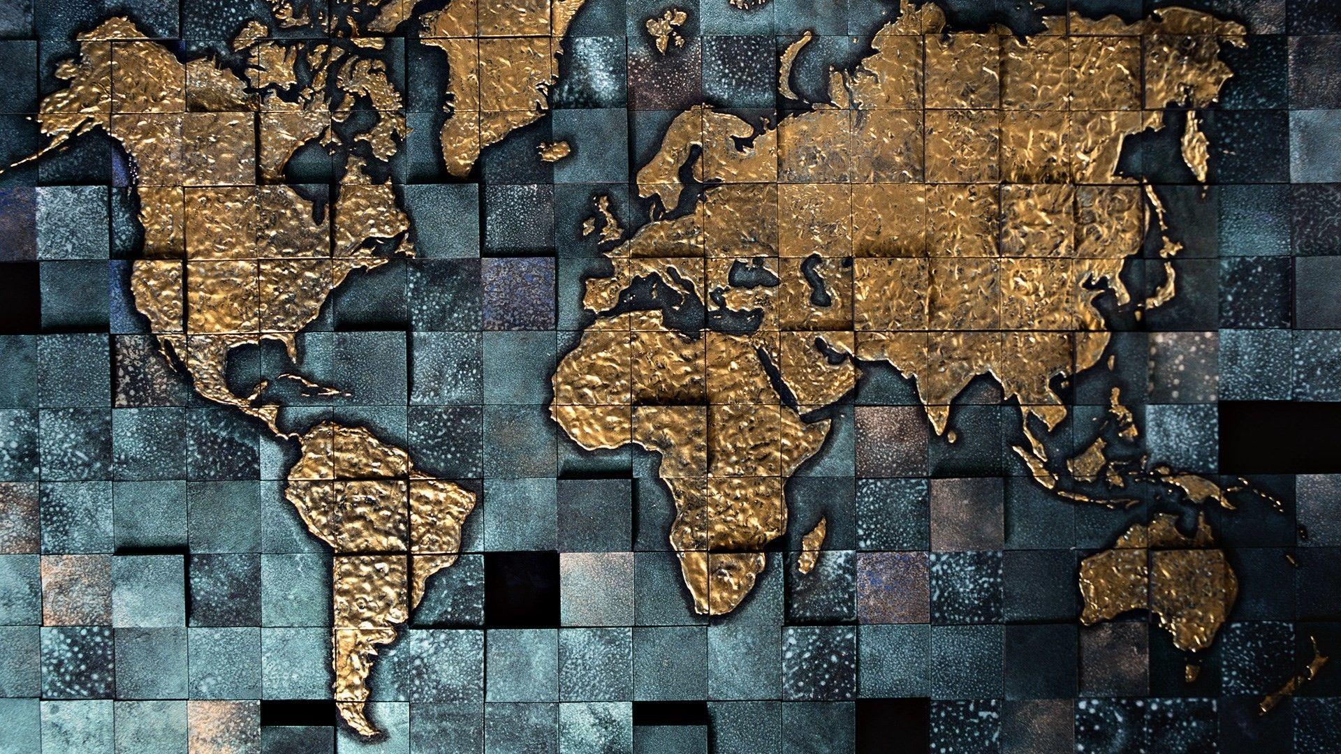 Hình nền máy tính để bàn bản đồ thế giới 1920x1080