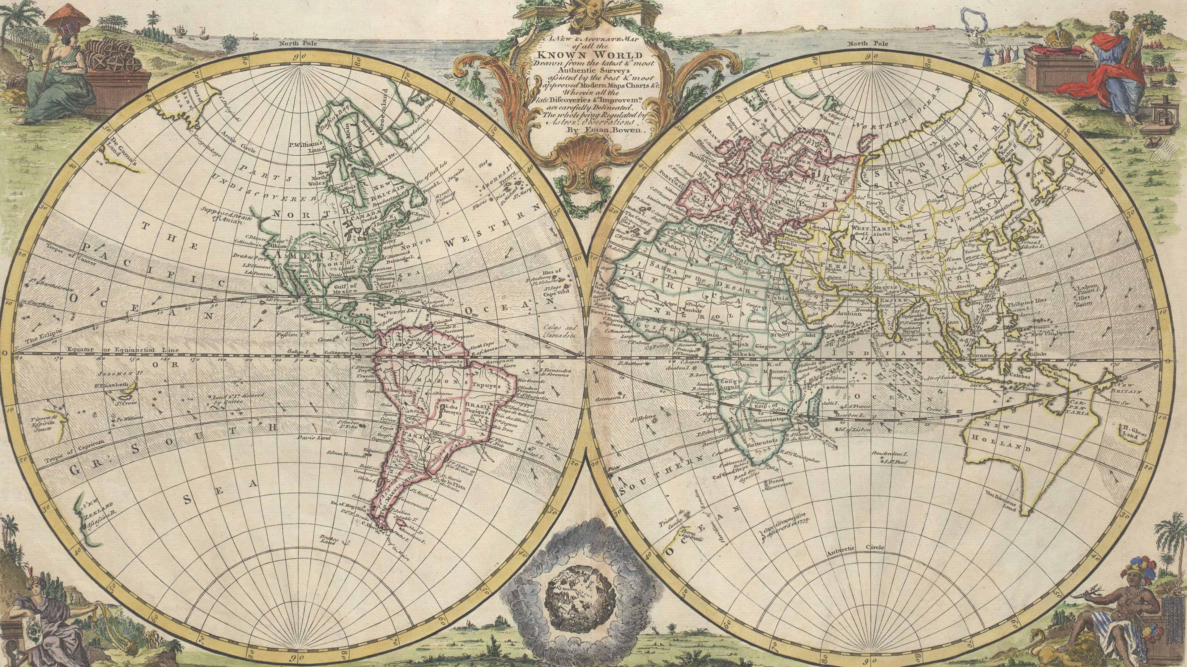 3840x2160 Bản đồ thế giới cổ điển của Anh Một bản đồ mới và chính xác của tất cả những gì đã biết