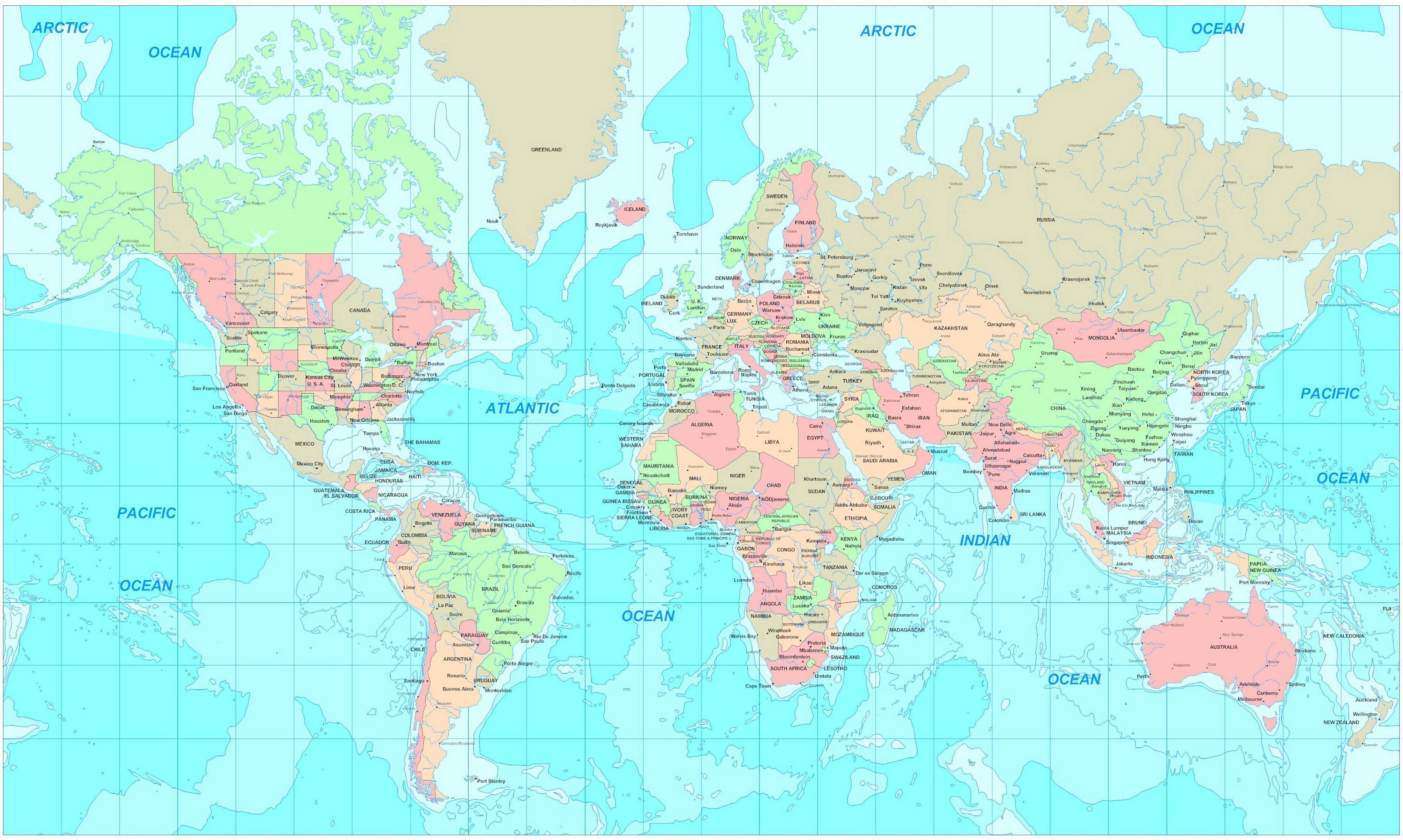 Độ phân giải cao hình nền bản đồ thế giới 3710x2222