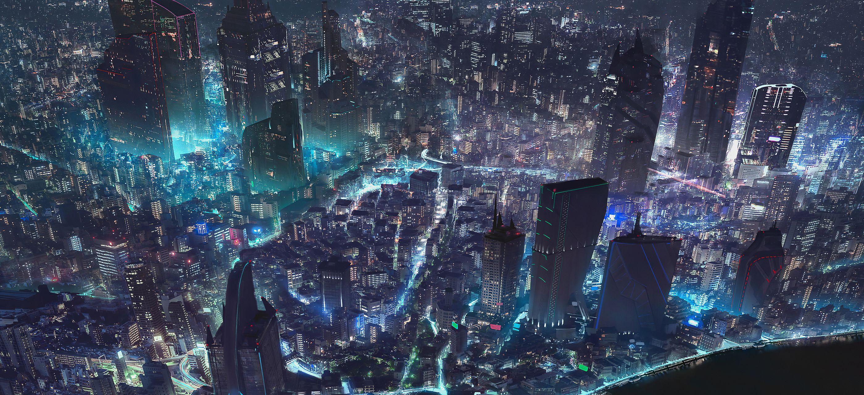 2800x1280 Bản đồ thế giới thành phố Cyberpunk 4k 2800x1280 Độ phân giải HD 4k