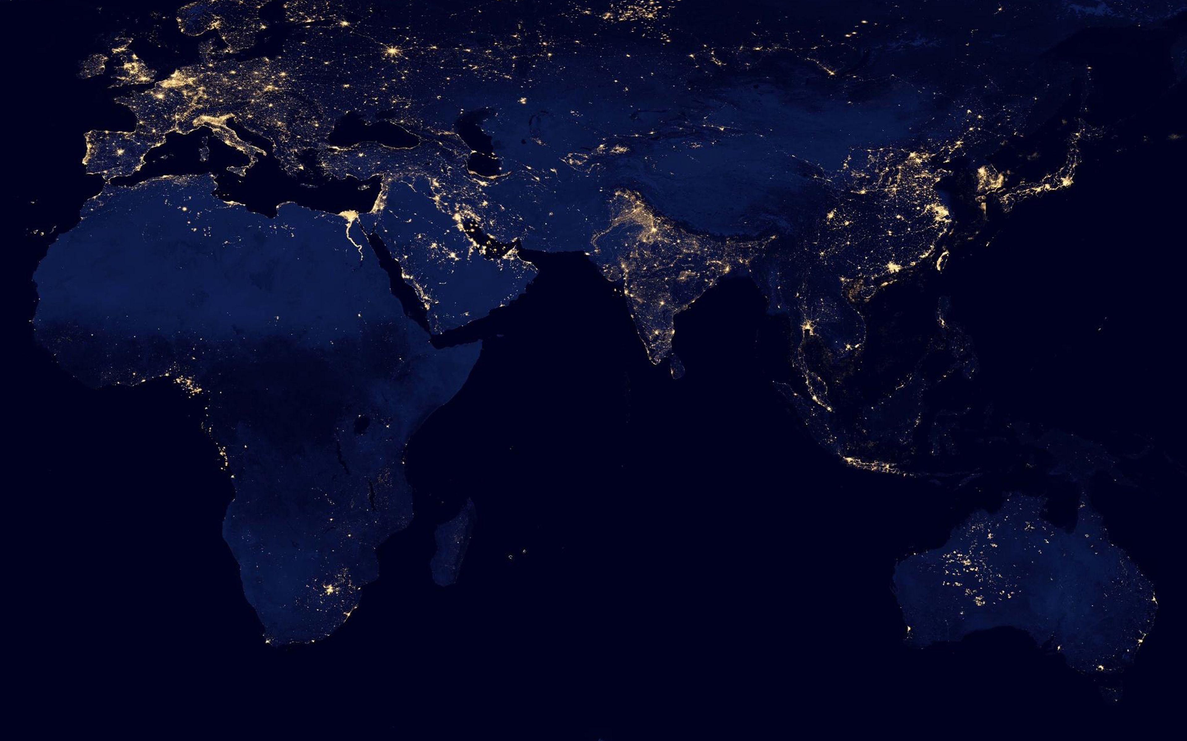 Bản đồ thế giới 3840x2400 Bản đồ màu xanh lam đậm Hình ảnh nghệ thuật