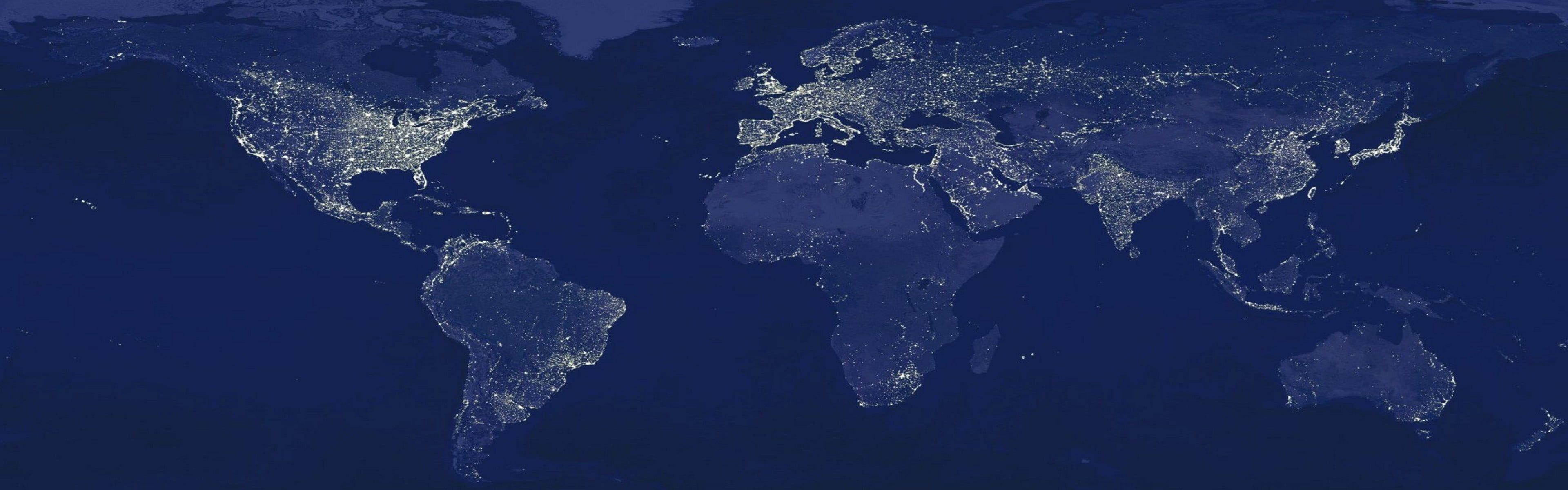 3840x1200 Bản đồ thế giới, hình nền HD nghệ thuật số