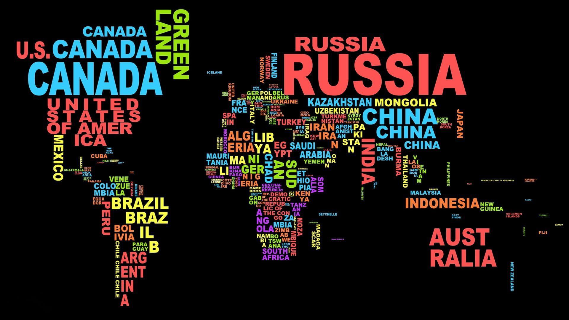1920x1080 Ảnh bản đồ thế giới ở định dạng văn bản hình nền HD