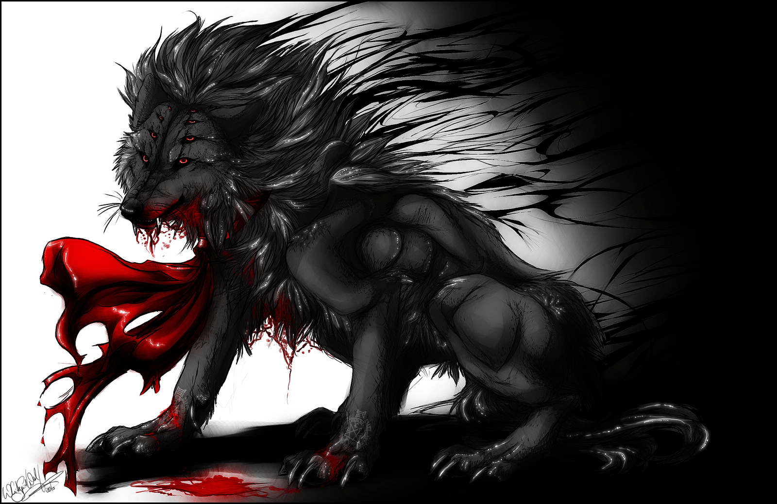 Demon Wolf Wallpapers Top Free Demon Wolf Backgrounds Wallpaperaccess