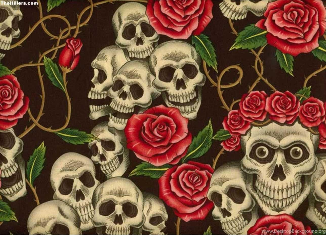 Skull And Roses Wallpaper Hd