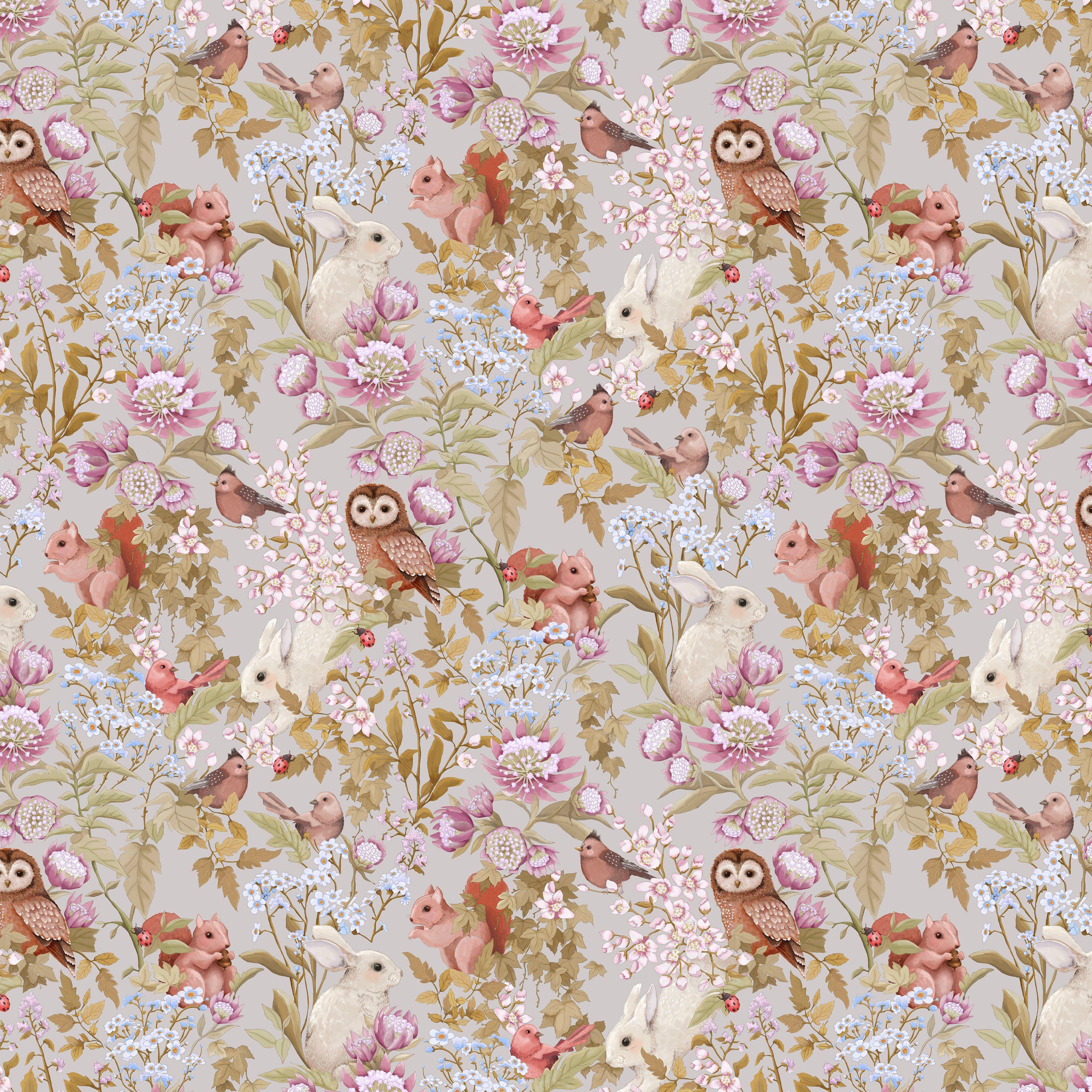 Woodland Floral Wallpaper Sage Green Flowers wildlife Animal Floral Deer Crown