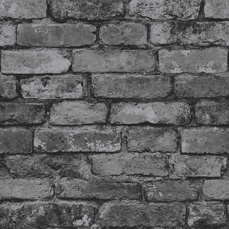 Rasch 226720 3D Stone Brick Wall Effect Feature Wallpaper Grey