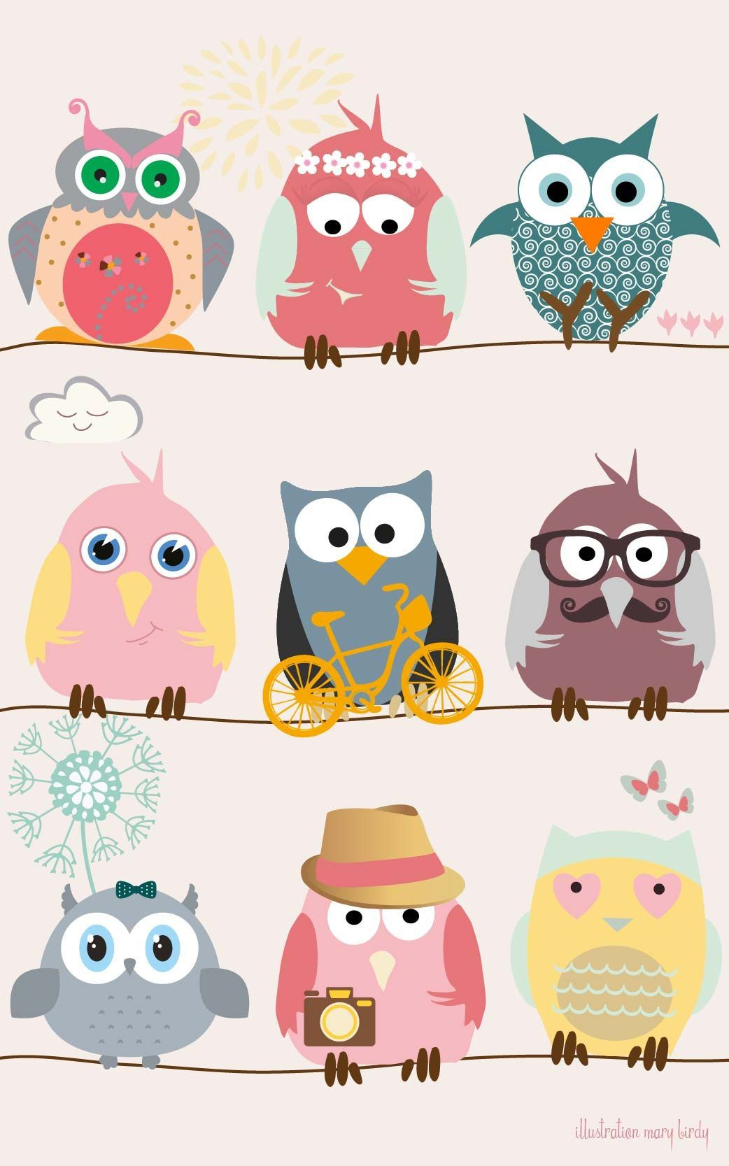 Wallpaper Girly Owls