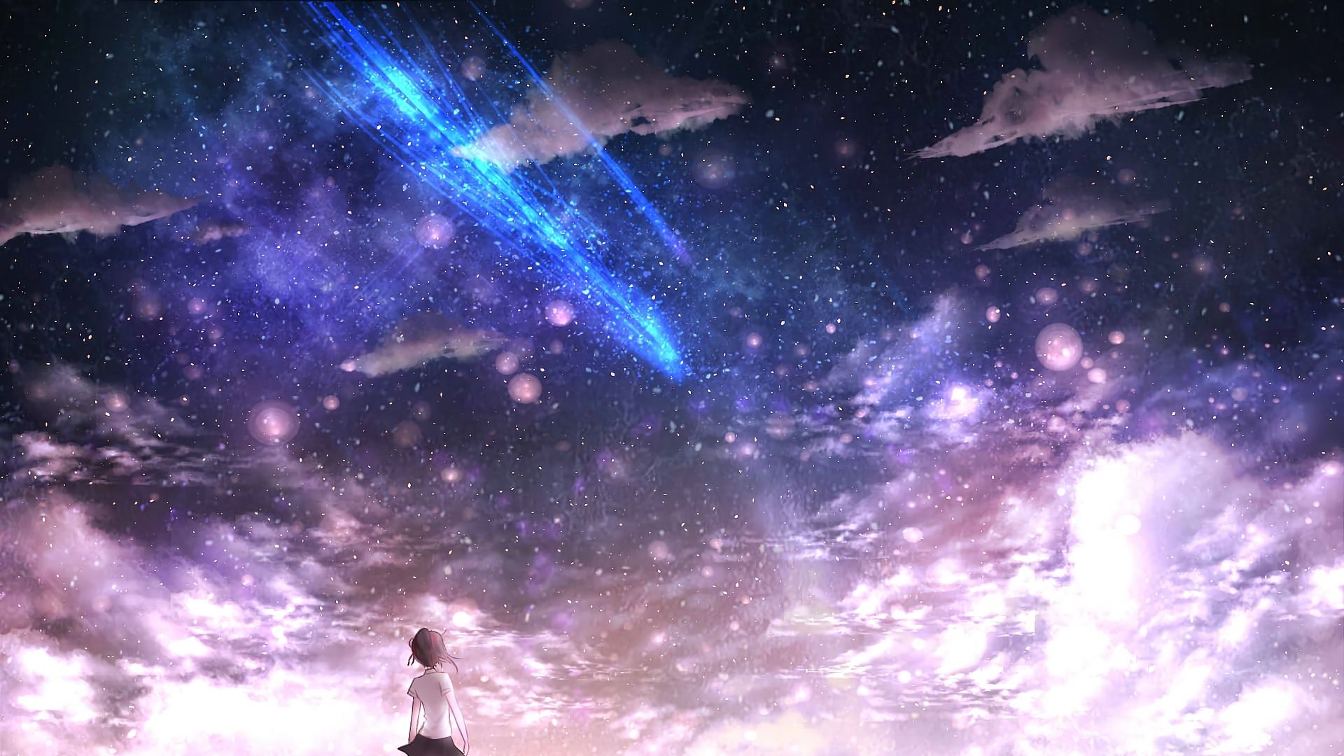 Anime Night Sky: Top Free Blue Comet Backgrounds