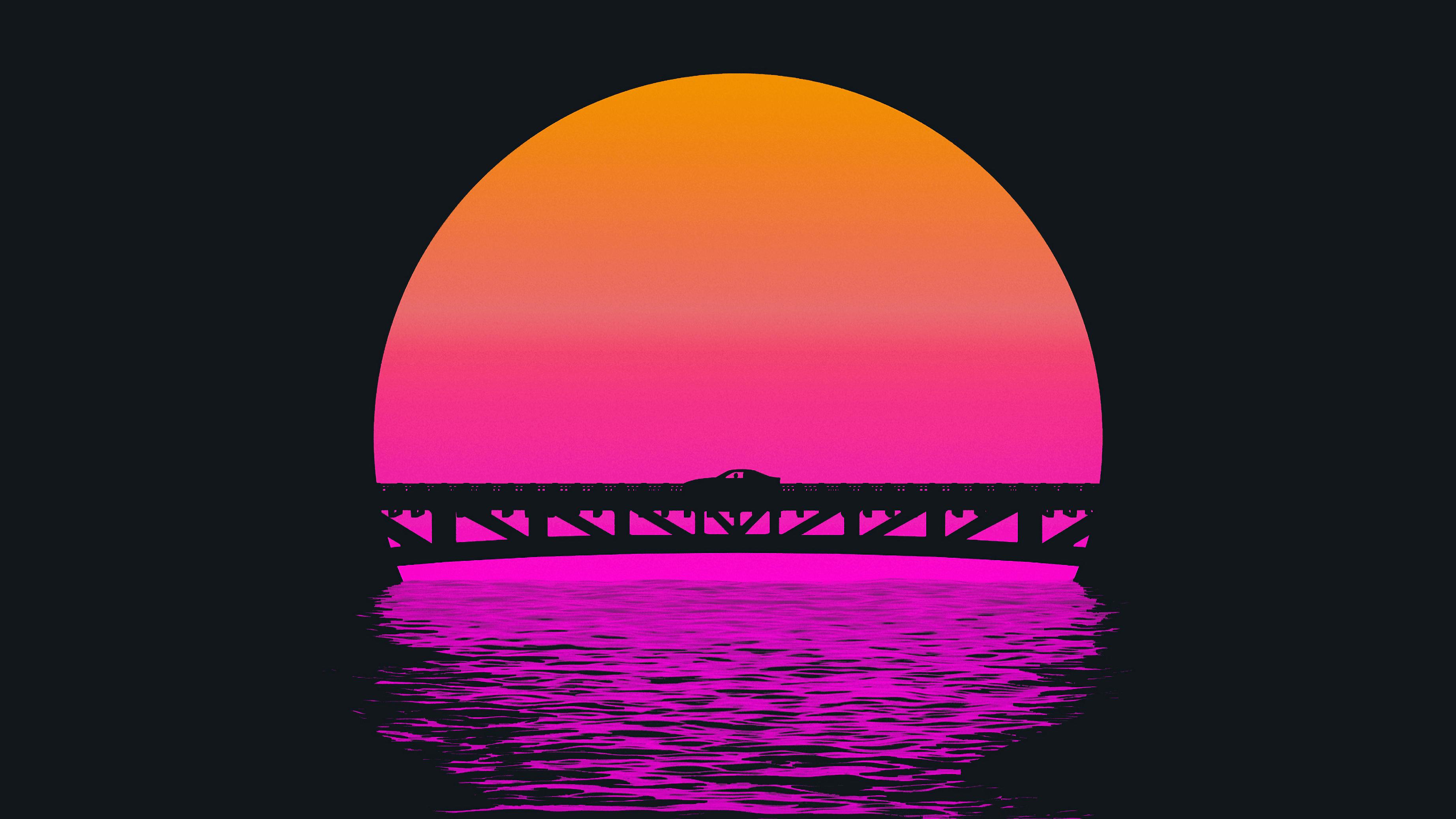 3688x2076 Outrun Sunset Hình nền 4K