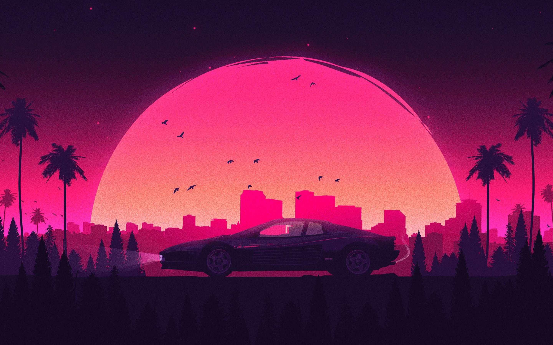 2880x1800 Màu hồng Retro Thành phố Lamborghini Macbook Pro Retina HD 4k - Cổ điển