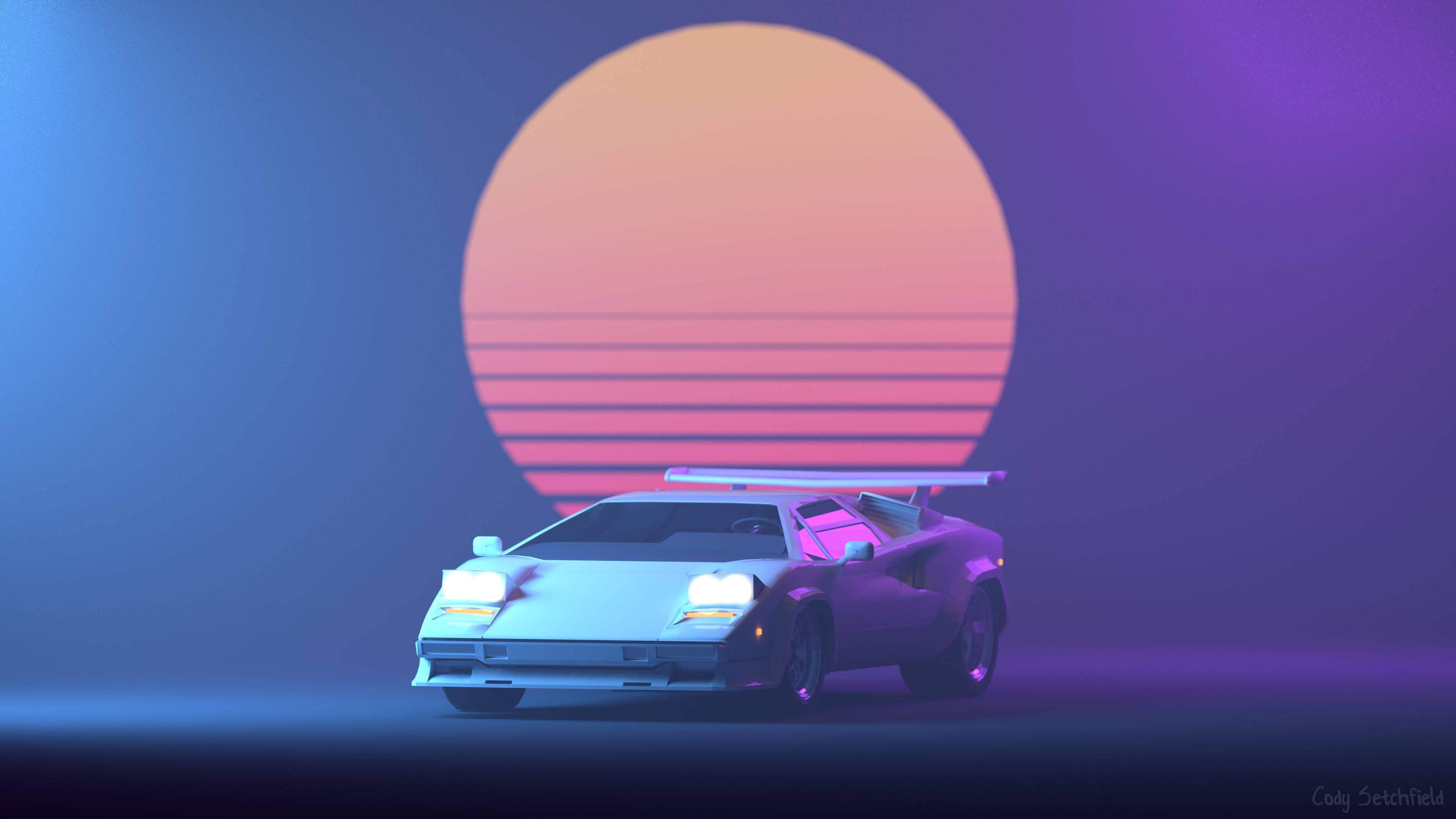 3840x2160 Hình nền Lamborghini 4K Retro
